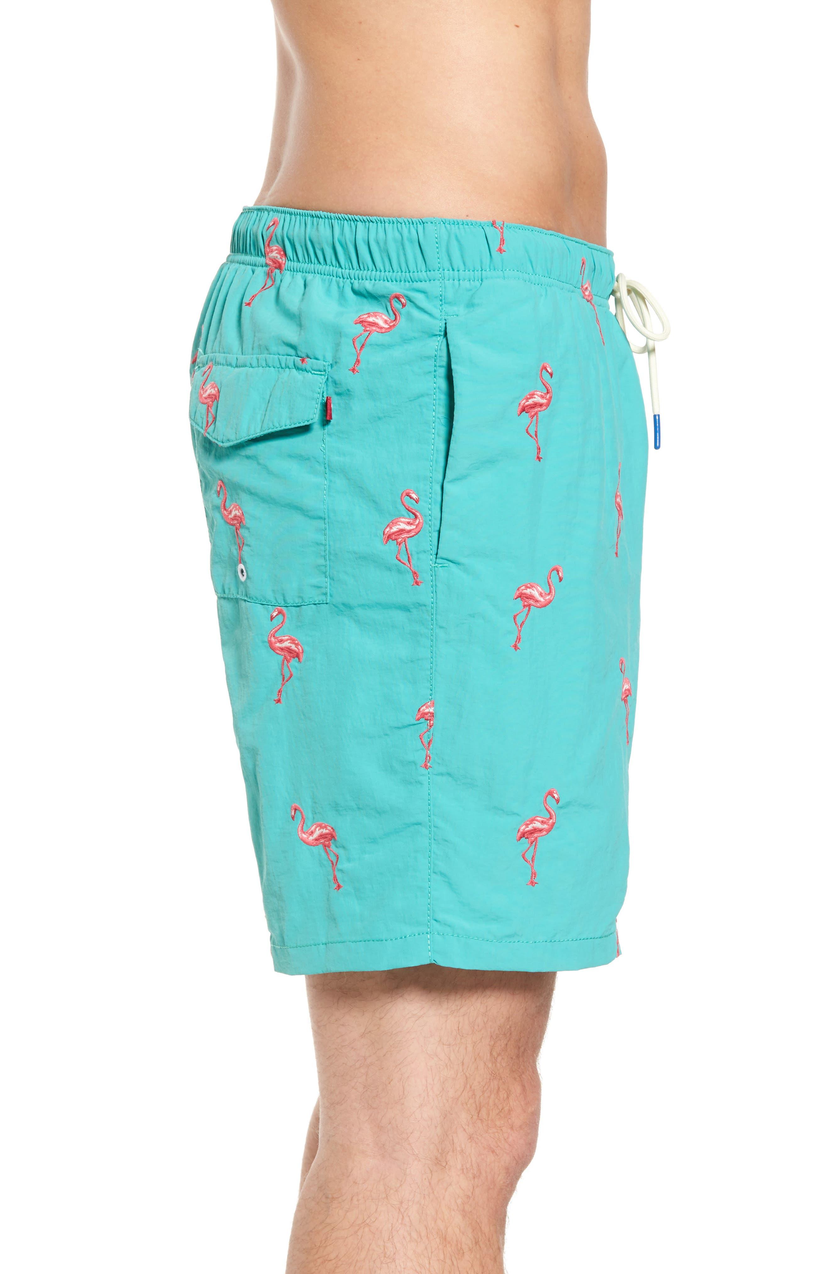 Naples Flamingo Coast Swim Trunks,                             Alternate thumbnail 3, color,                             Castaway Green