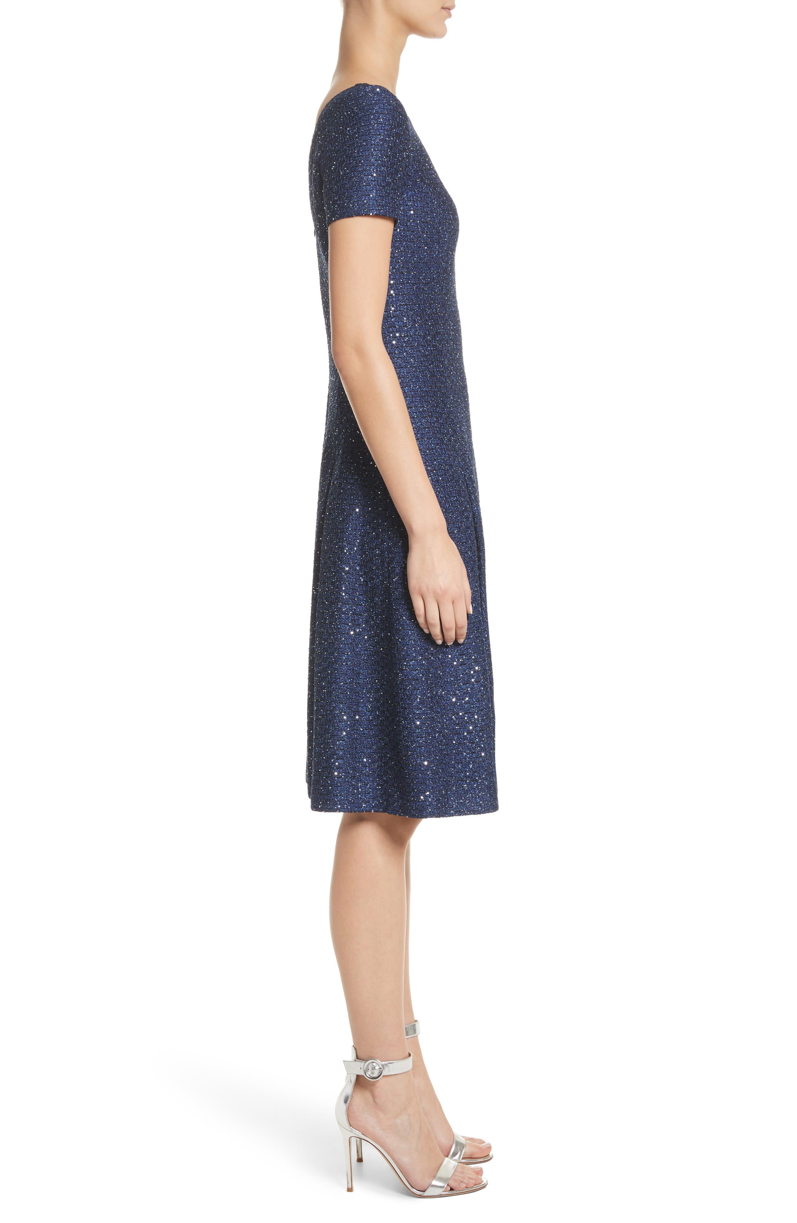 Sparkle Sequin Knit Fit & Flare Dress,                             Alternate thumbnail 3, color,                             Navy Multi