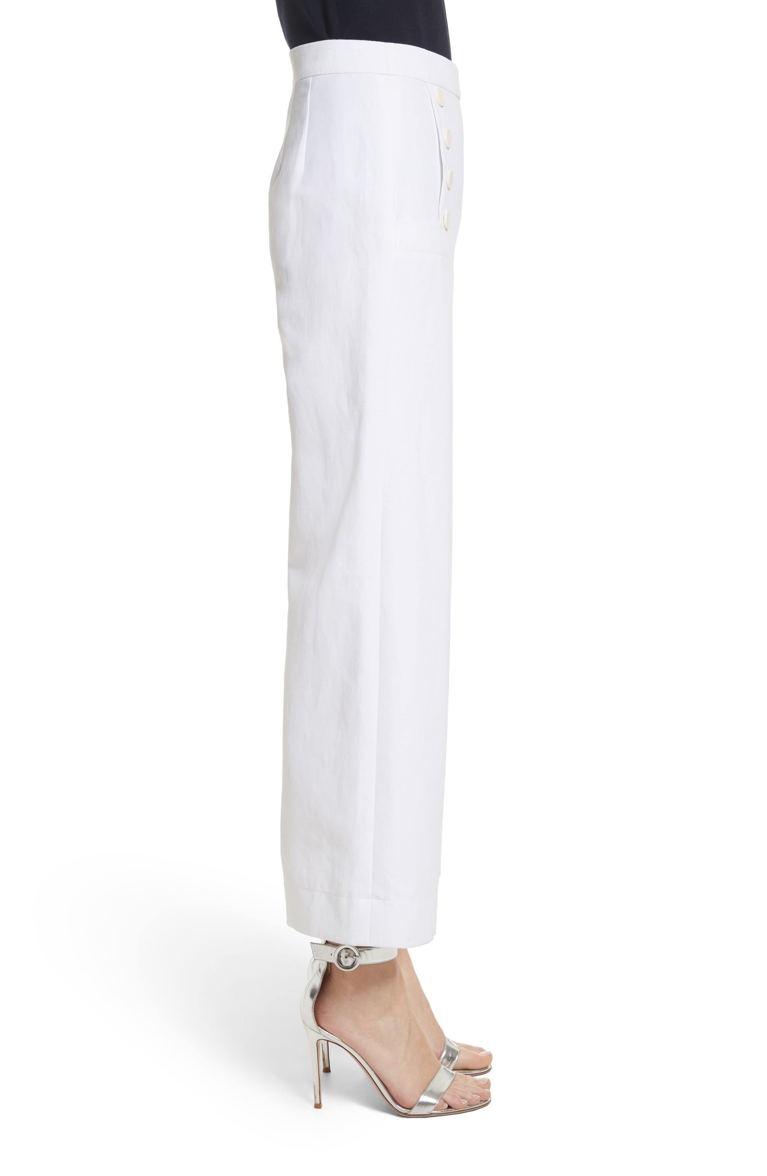 Cotton & Linen Crop Wide Leg Pants,                             Alternate thumbnail 3, color,                             Bianco