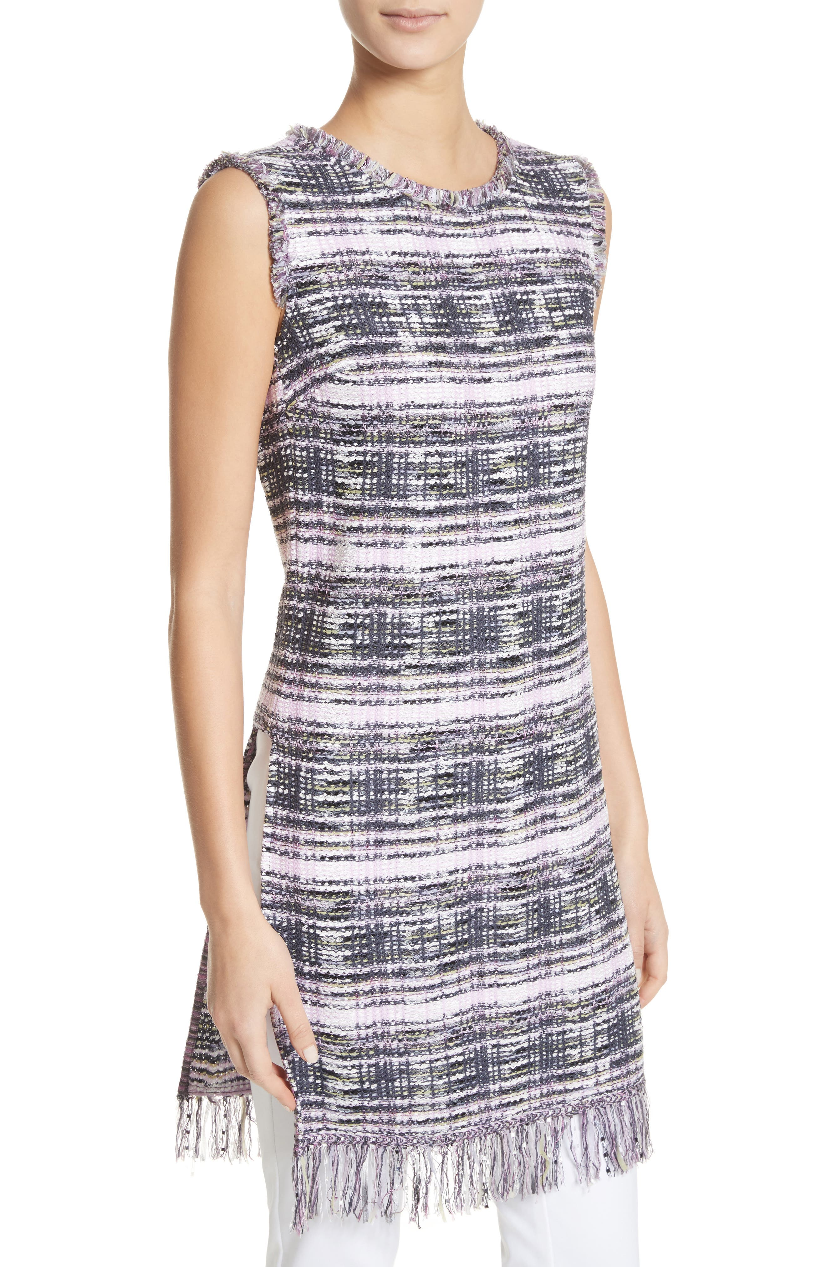 Anna Plaid Tweed Tunic,                             Alternate thumbnail 4, color,                             Anthracite/ Orchid