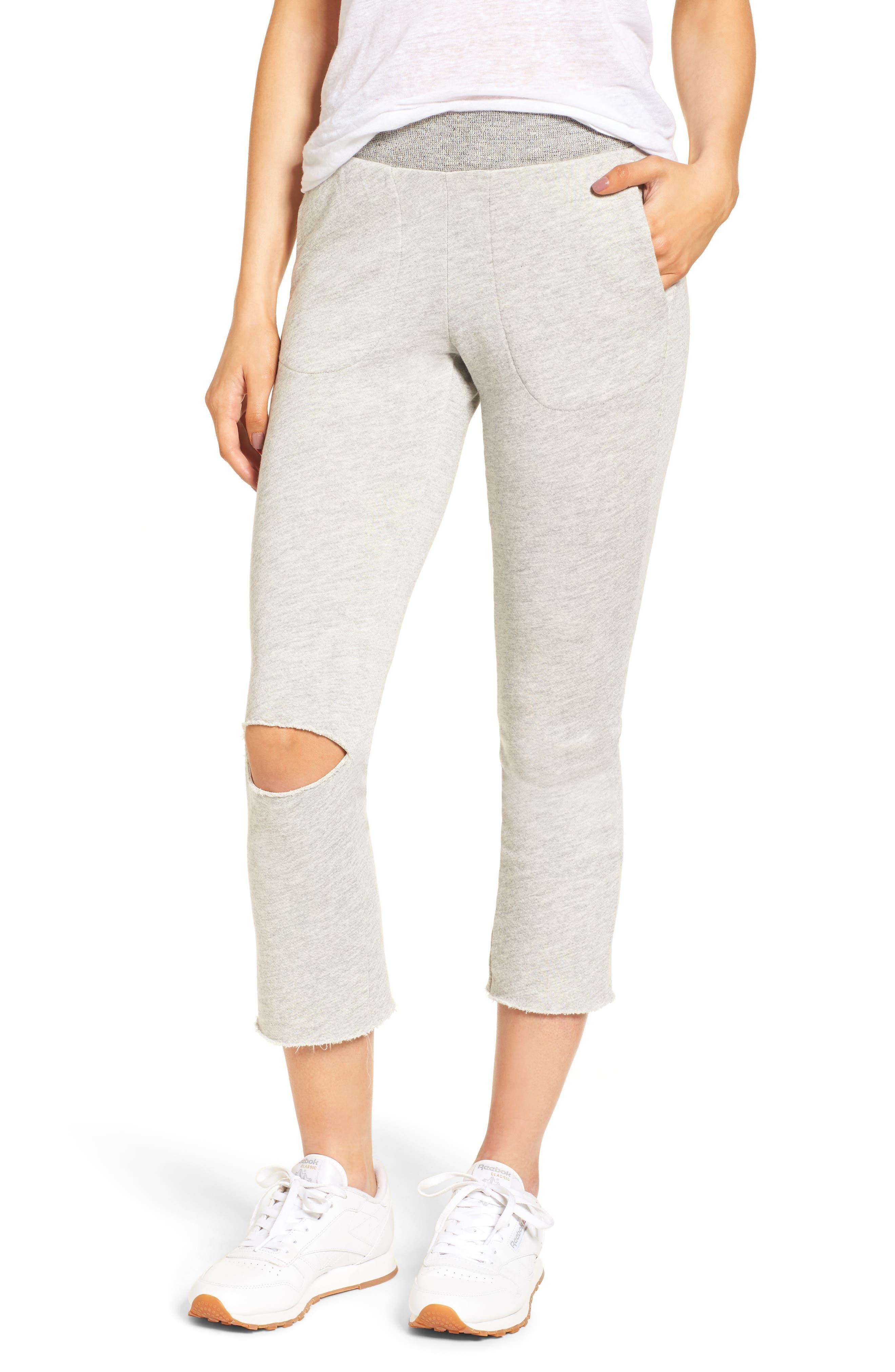 Malibu Slit Knee Sweatpants,                         Main,                         color, Heather Grey
