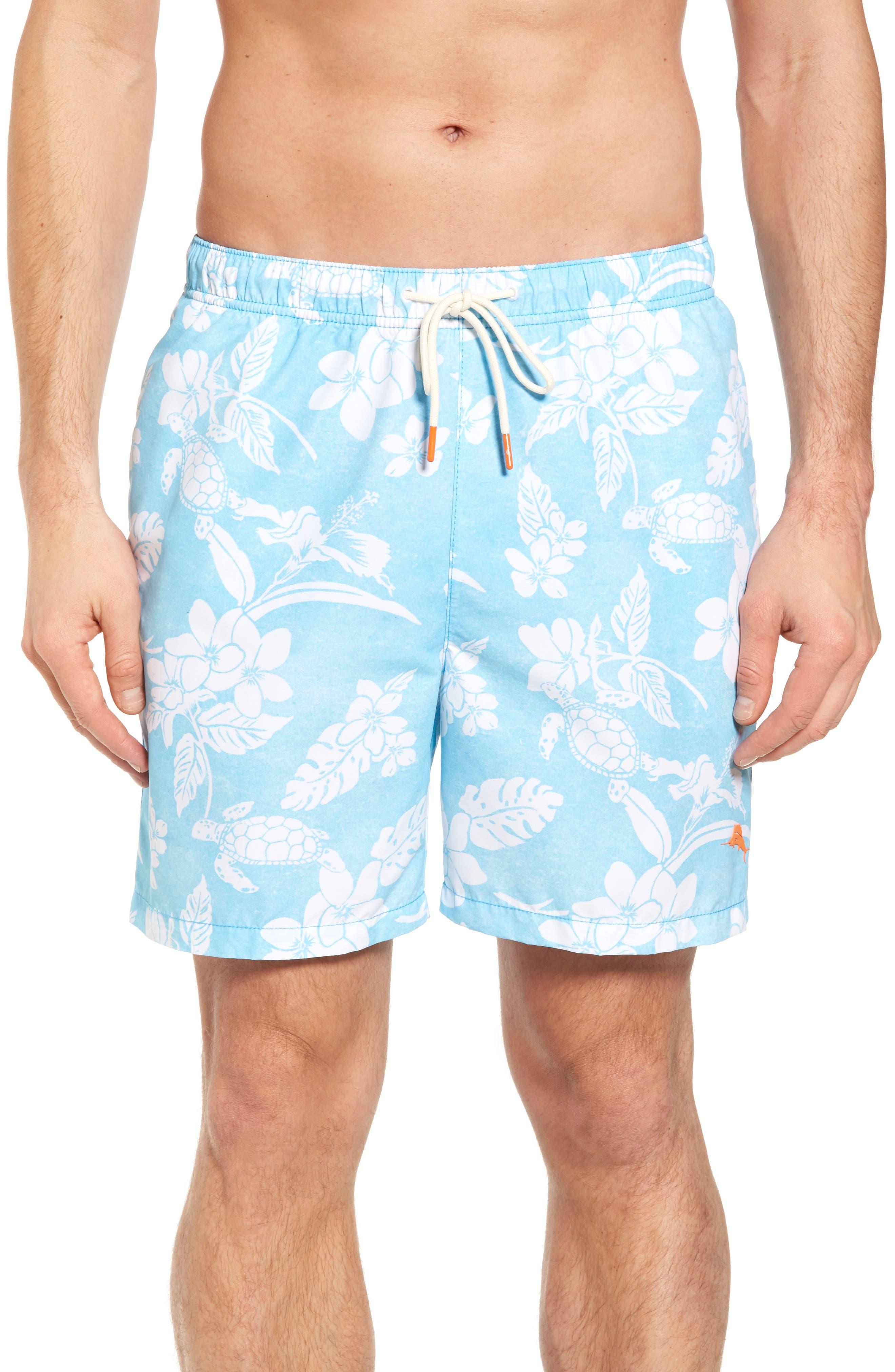 Naples Turtle Beach Swim Trunks,                         Main,                         color, Breeze Blue
