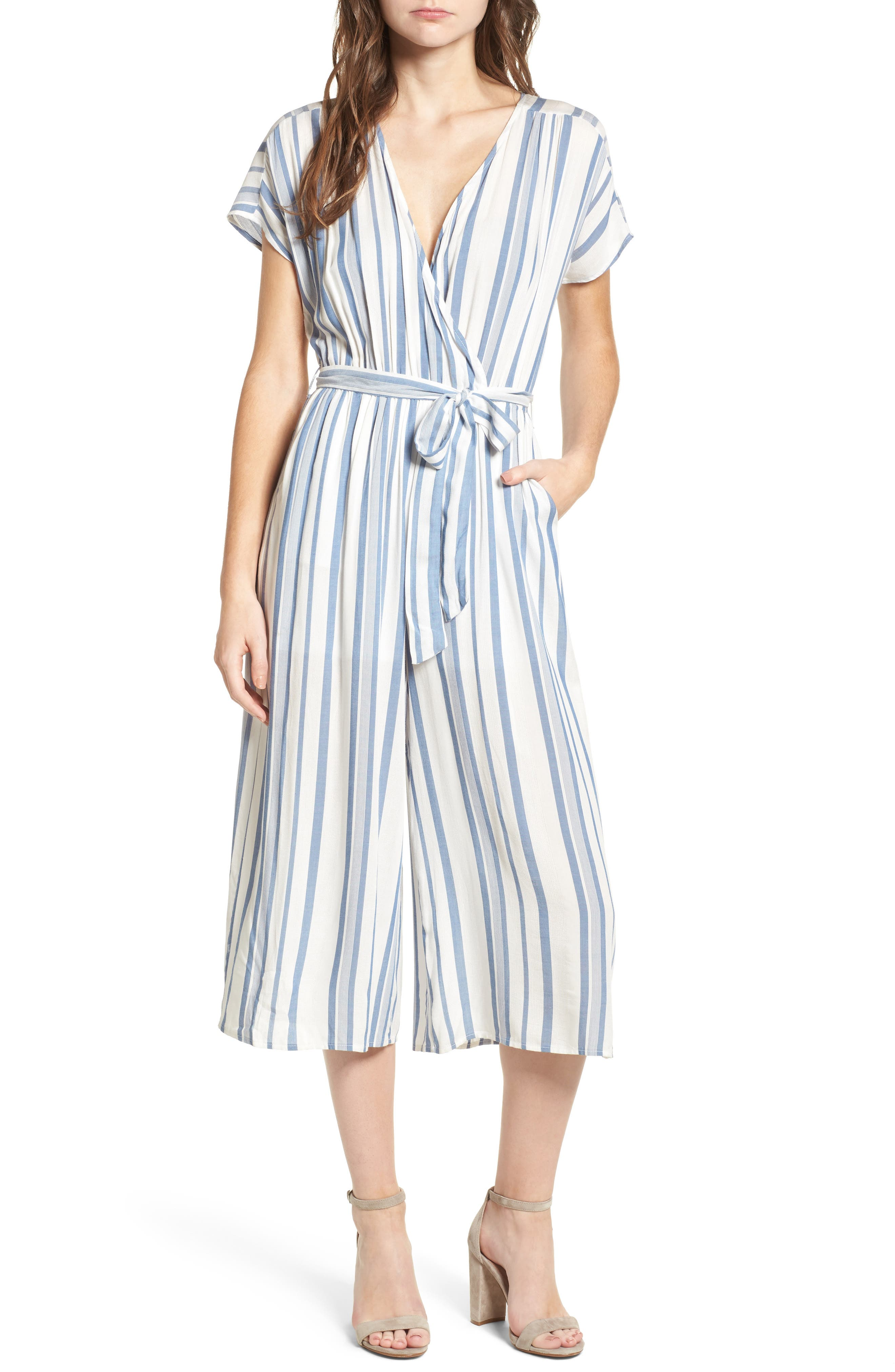 Marina Pinstripe Jumpsuit,                         Main,                         color, White/ Blue