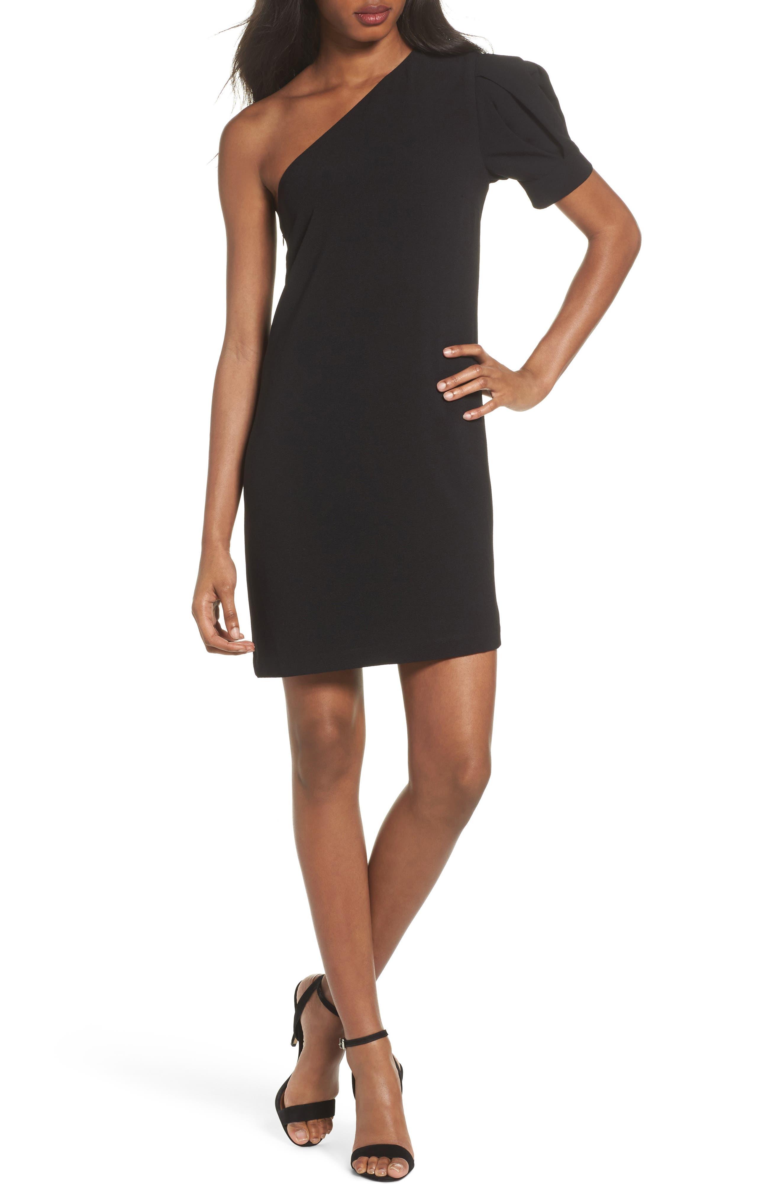 One-Shoulder Shift Dress,                         Main,                         color, Black