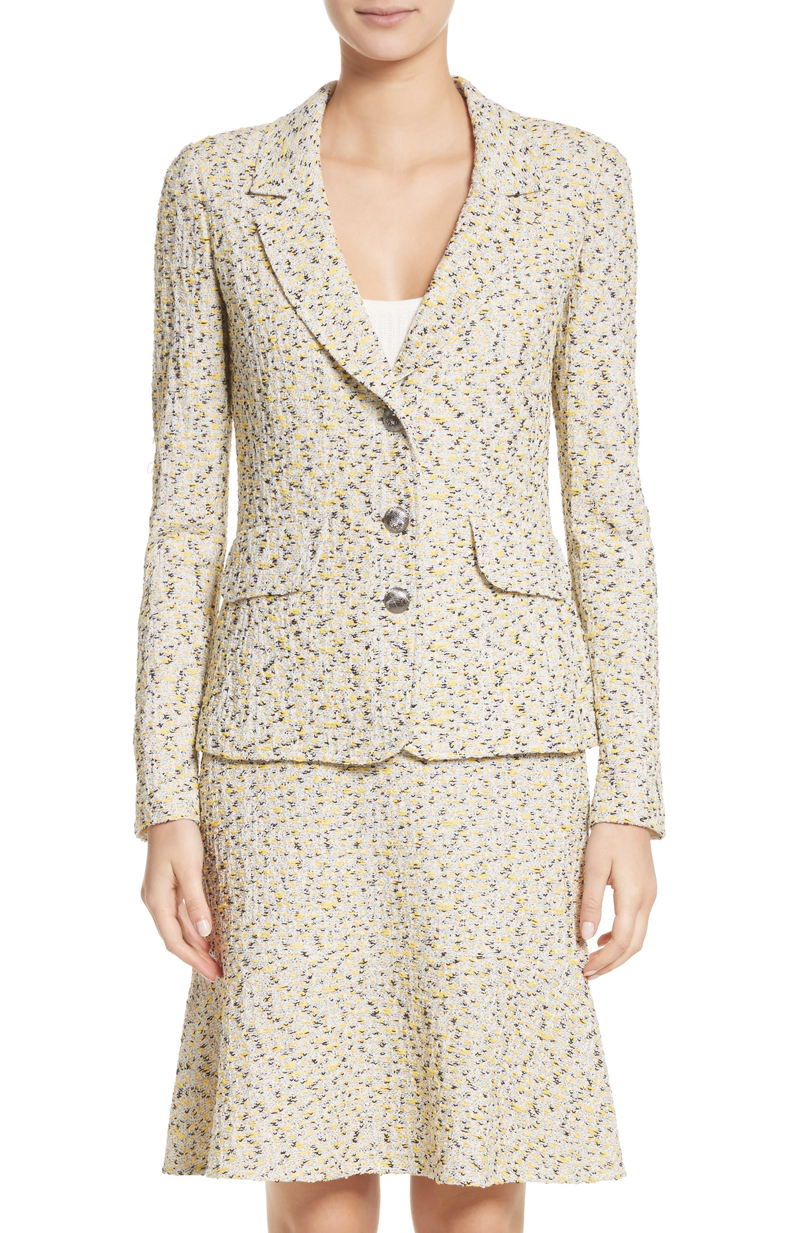 Romee Tweed Knit Blazer,                             Main thumbnail 1, color,                             Citron Multi