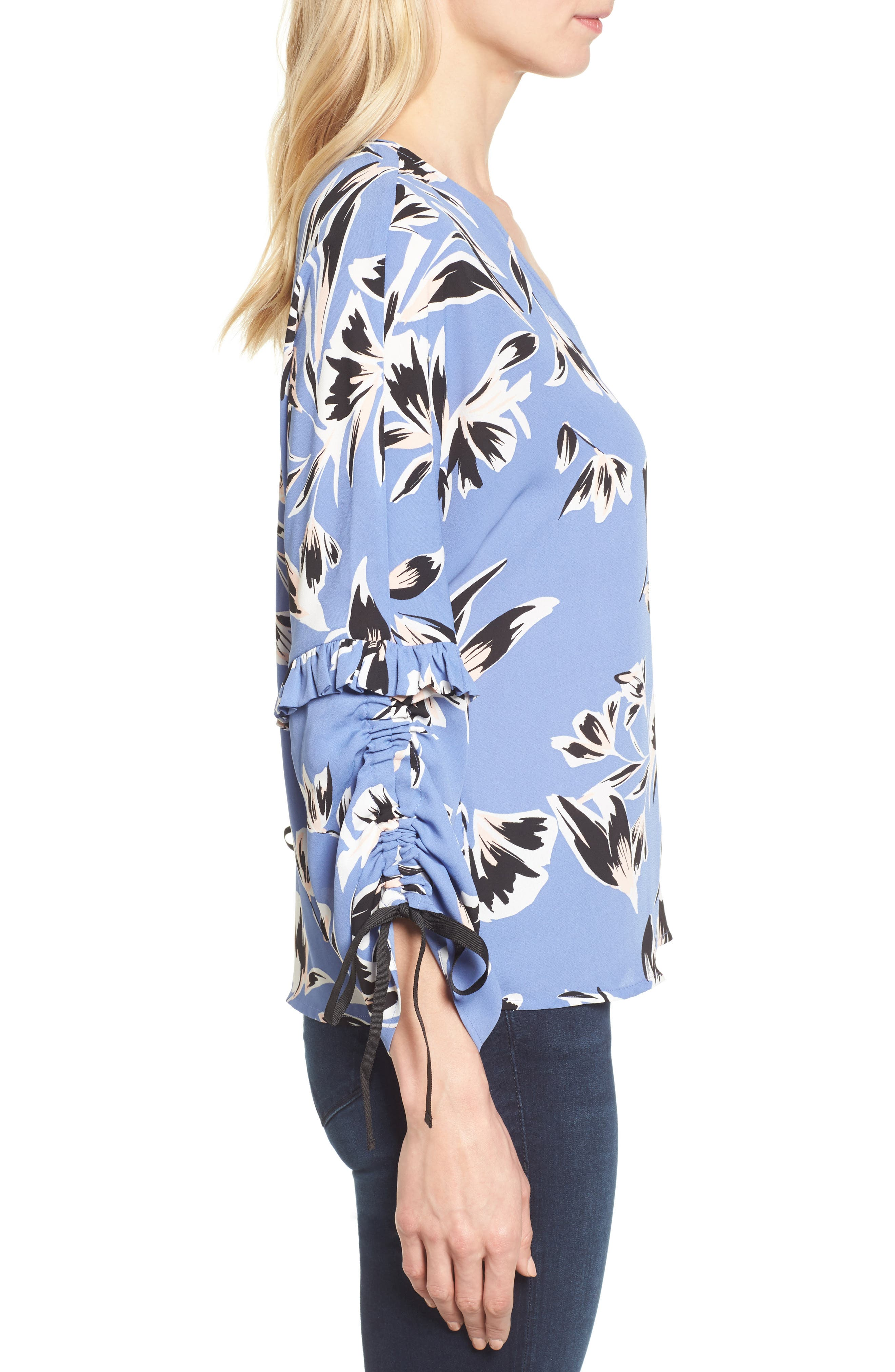 Ruched Tie Sleeve Top,                             Alternate thumbnail 3, color,                             Blue- Pink Sketch Floral