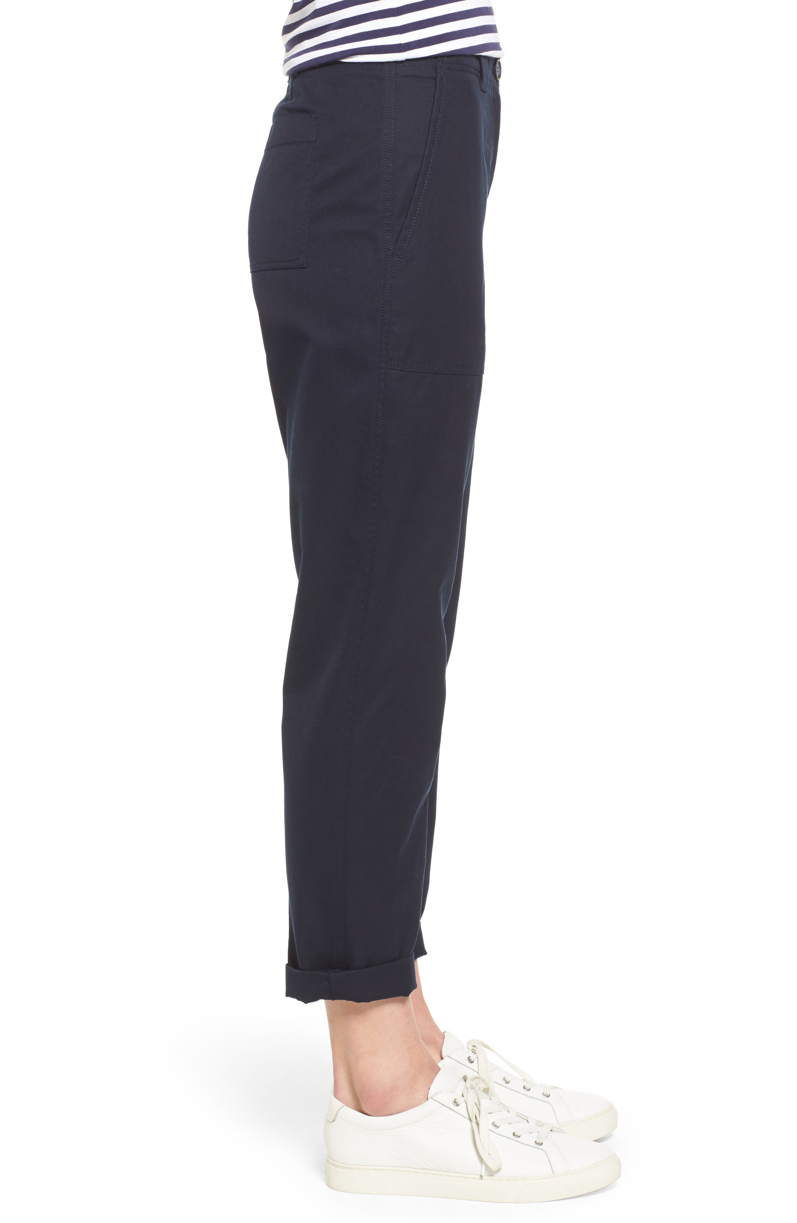 Patch Pocket Ankle Pants,                             Alternate thumbnail 3, color,                             Navy Night