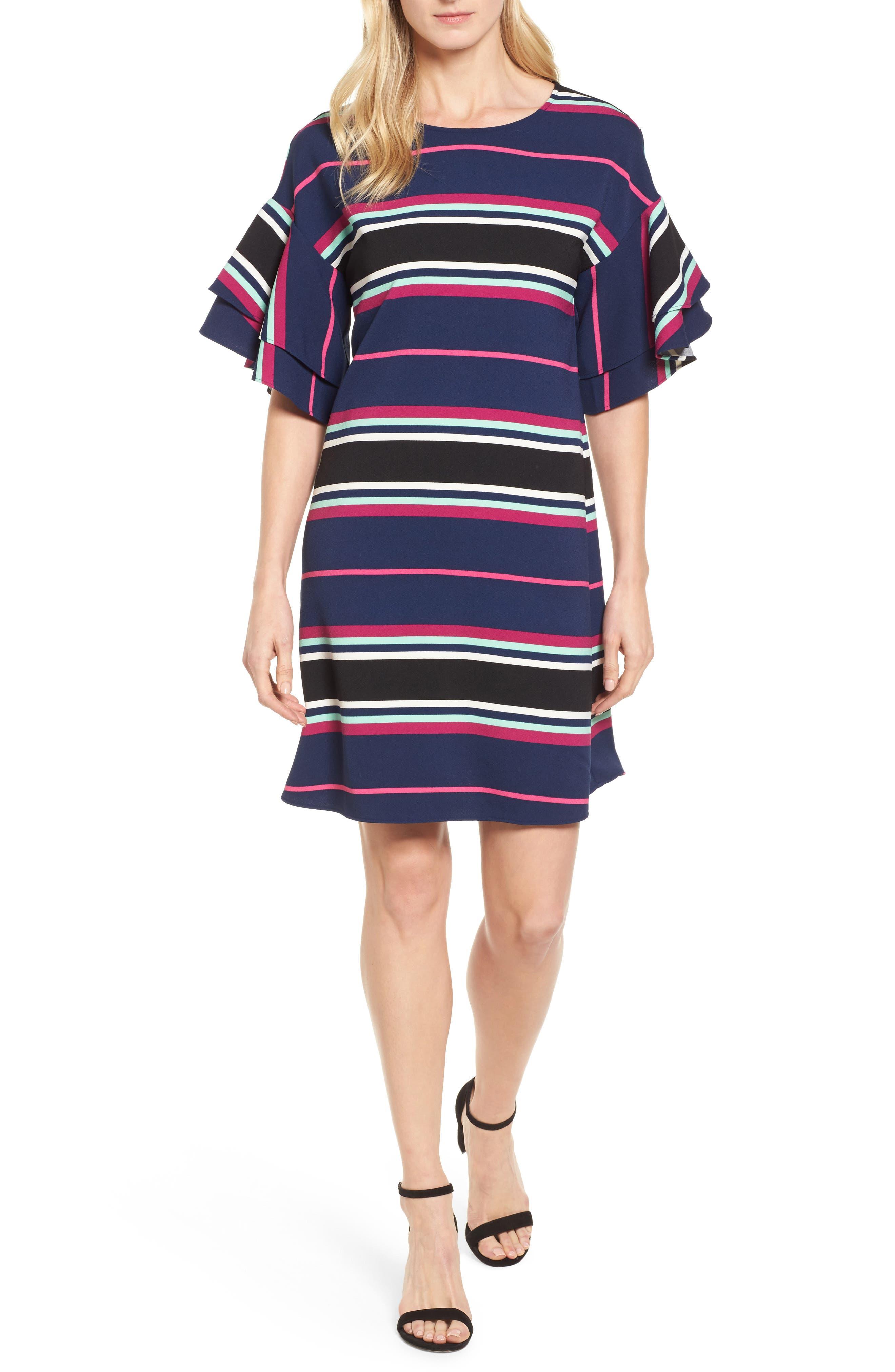 Ruffle Sleeve Shift Dress,                         Main,                         color, Navy- Pink Multi Stripe