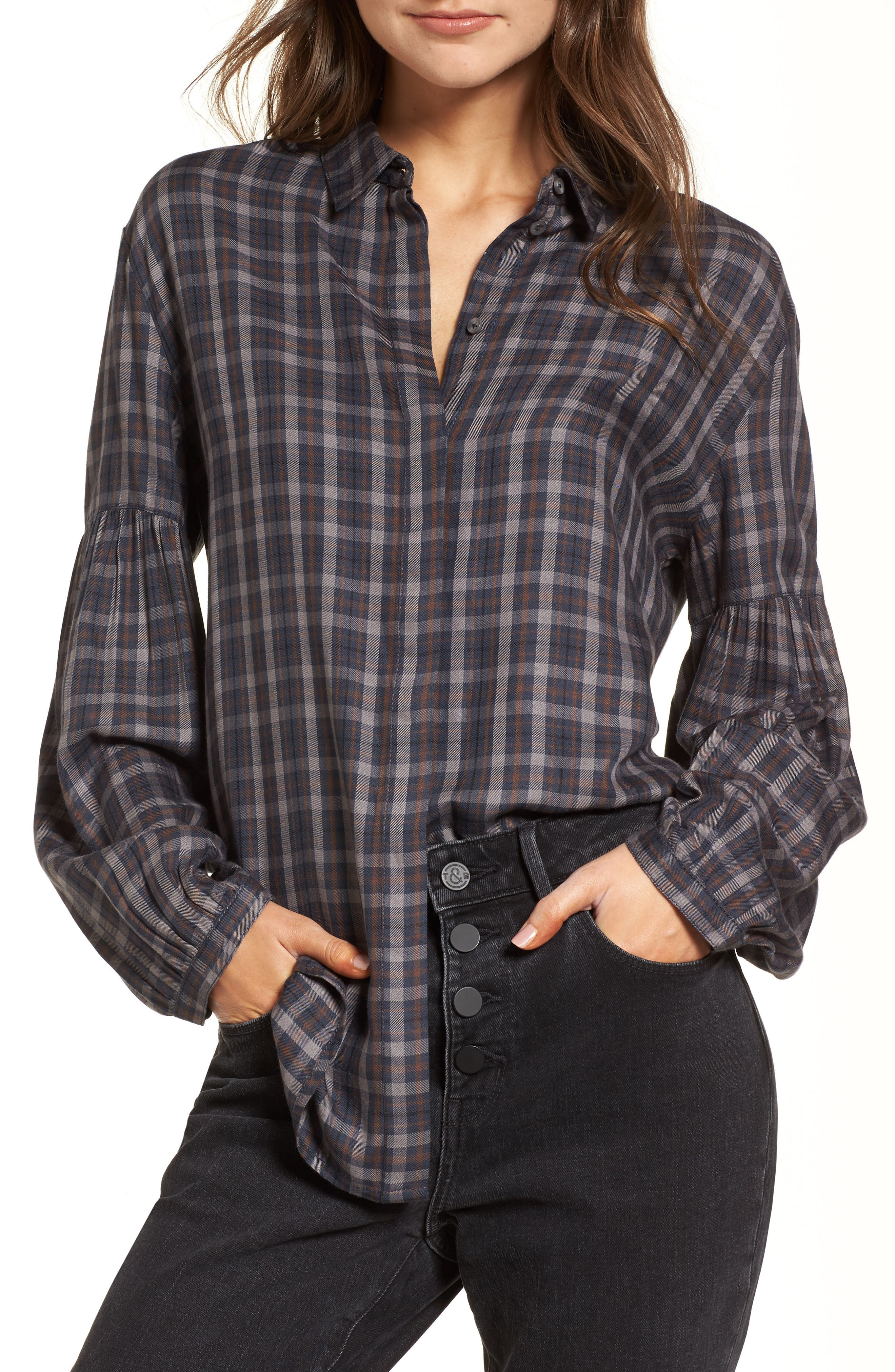 Puff Sleeve Boyfriend Shirt,                         Main,                         color, Navy Blue Box Nest