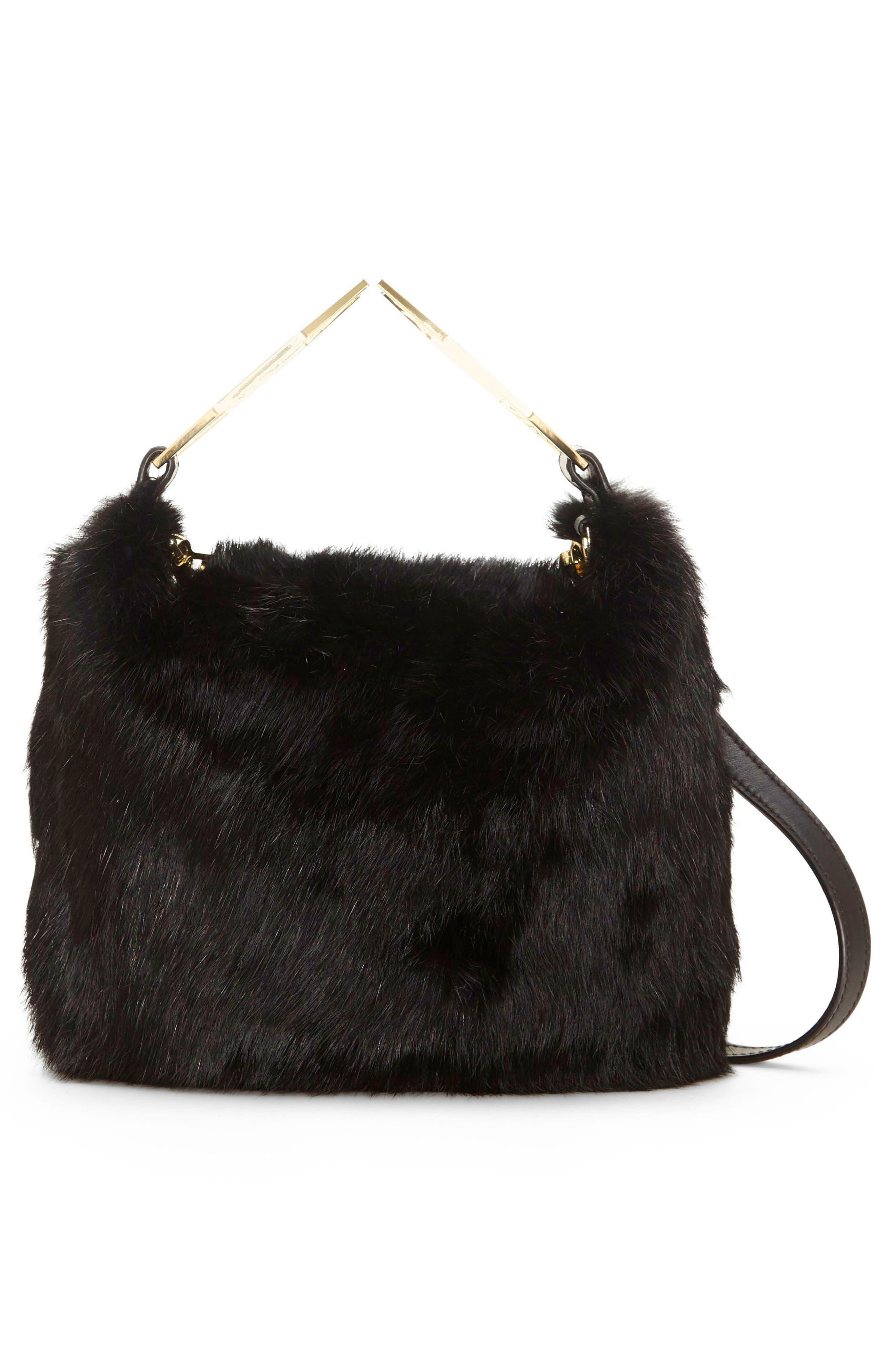 Tysse Genuine Rabbit Fur Bracelet Bag,                             Alternate thumbnail 2, color,                             Black