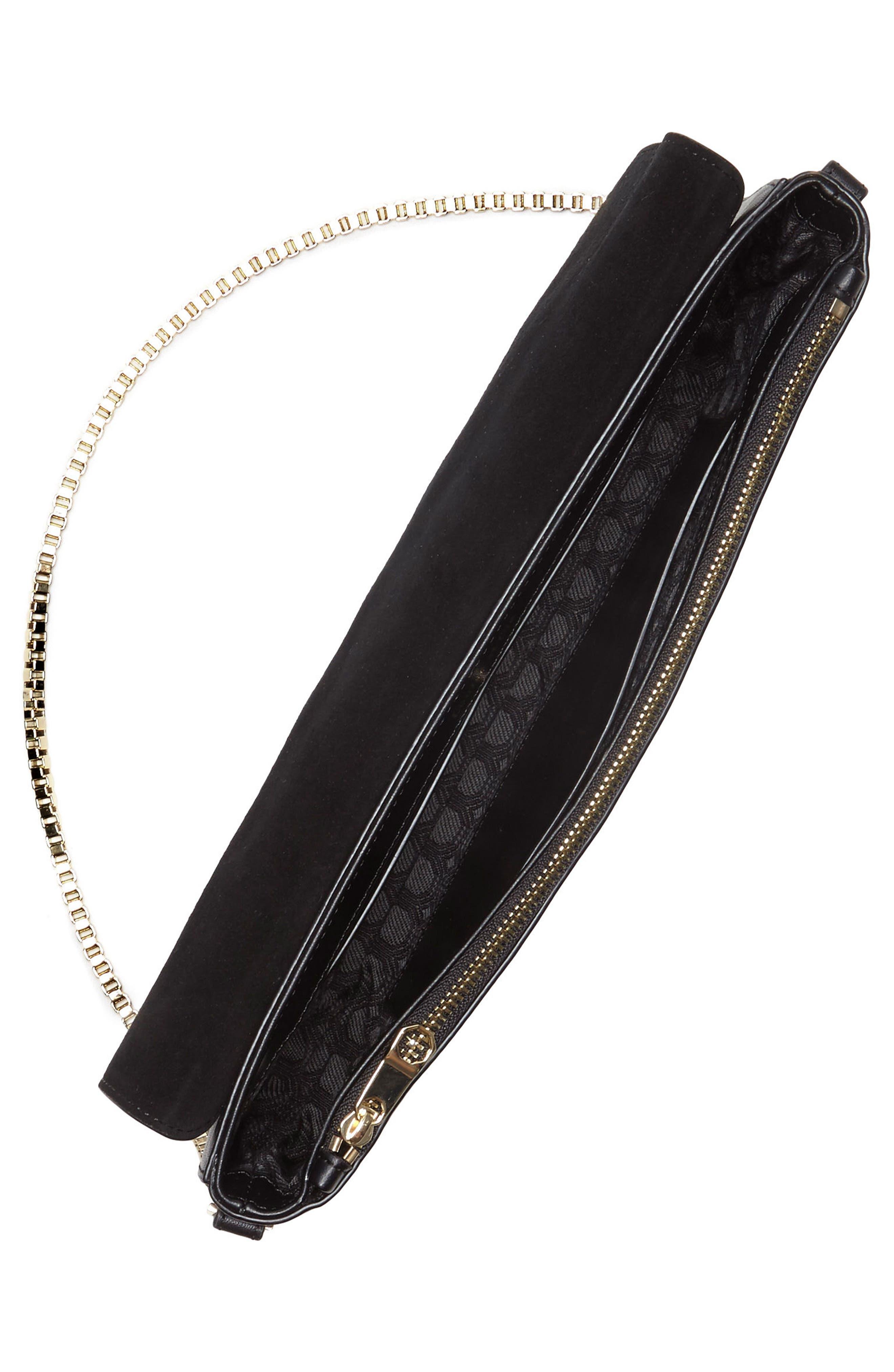 Gya Imitation Pearl Embellished Suede & Leather Clutch,                             Alternate thumbnail 3, color,                             Black
