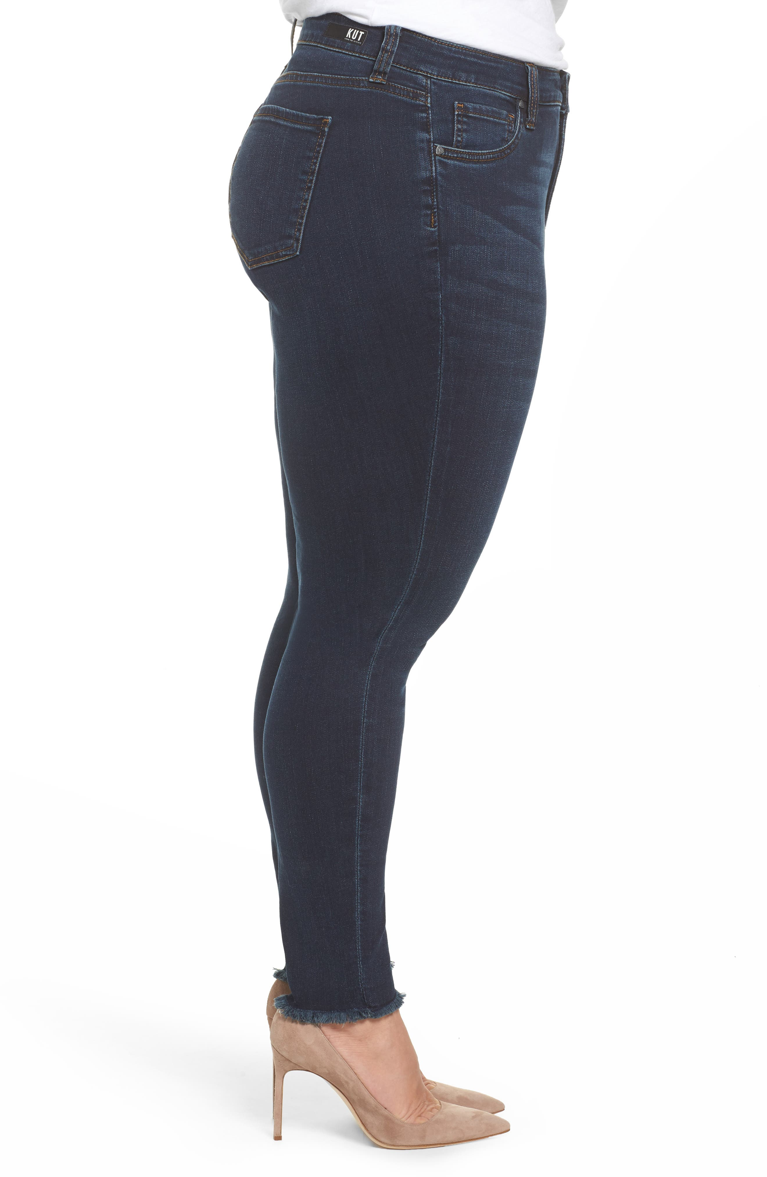Alternate Image 3  - KUT from the Kloth Donna Frayed Skinny Crop Jeans (Certitude) (Plus Size)