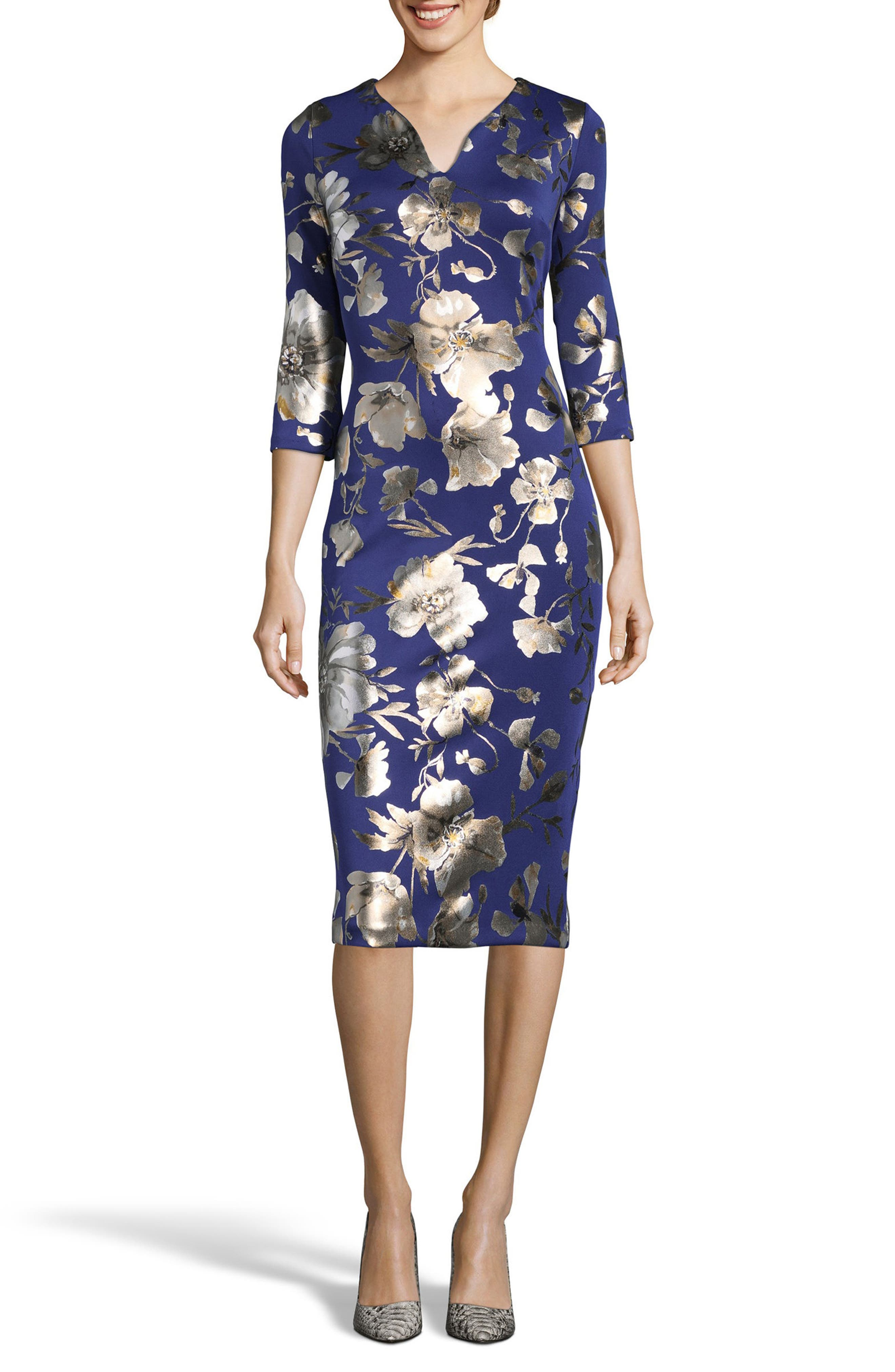 ECI Foil Print Sheath Dress