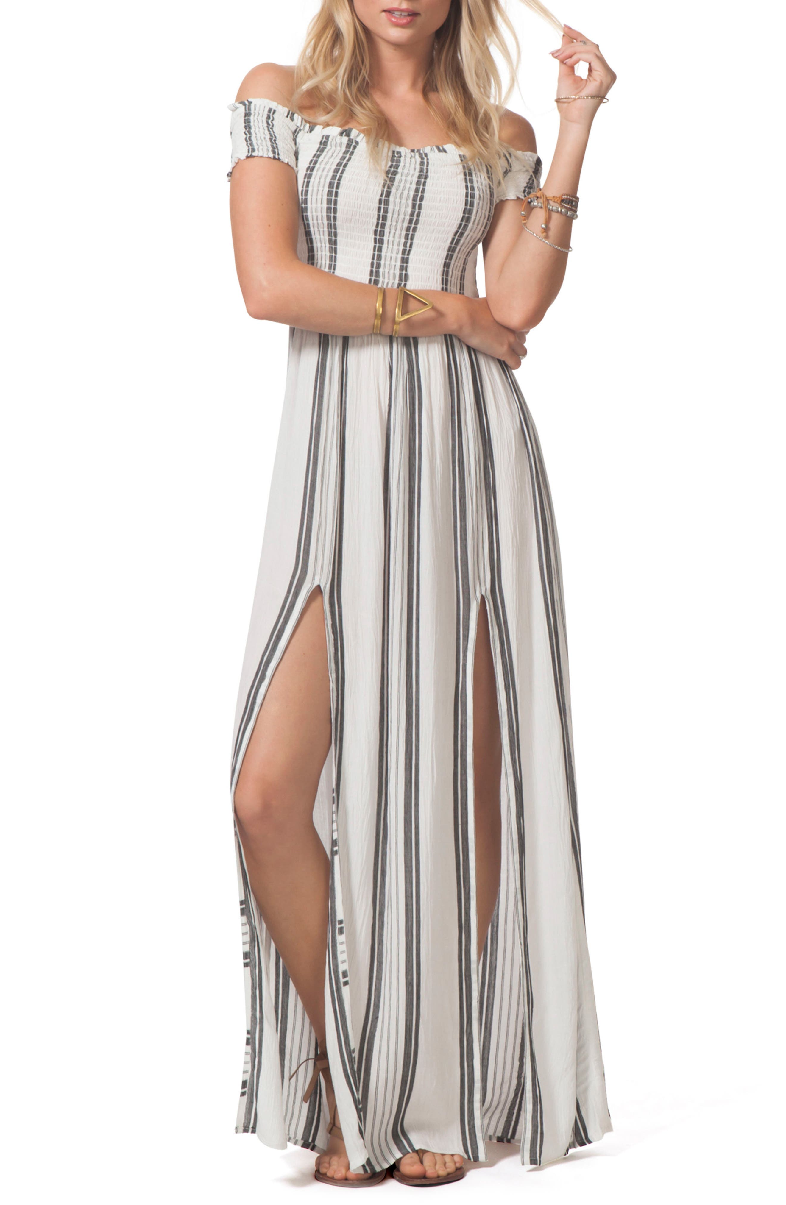 Soulmate Off the Shoulder Maxi Dress,                             Main thumbnail 1, color,                             White