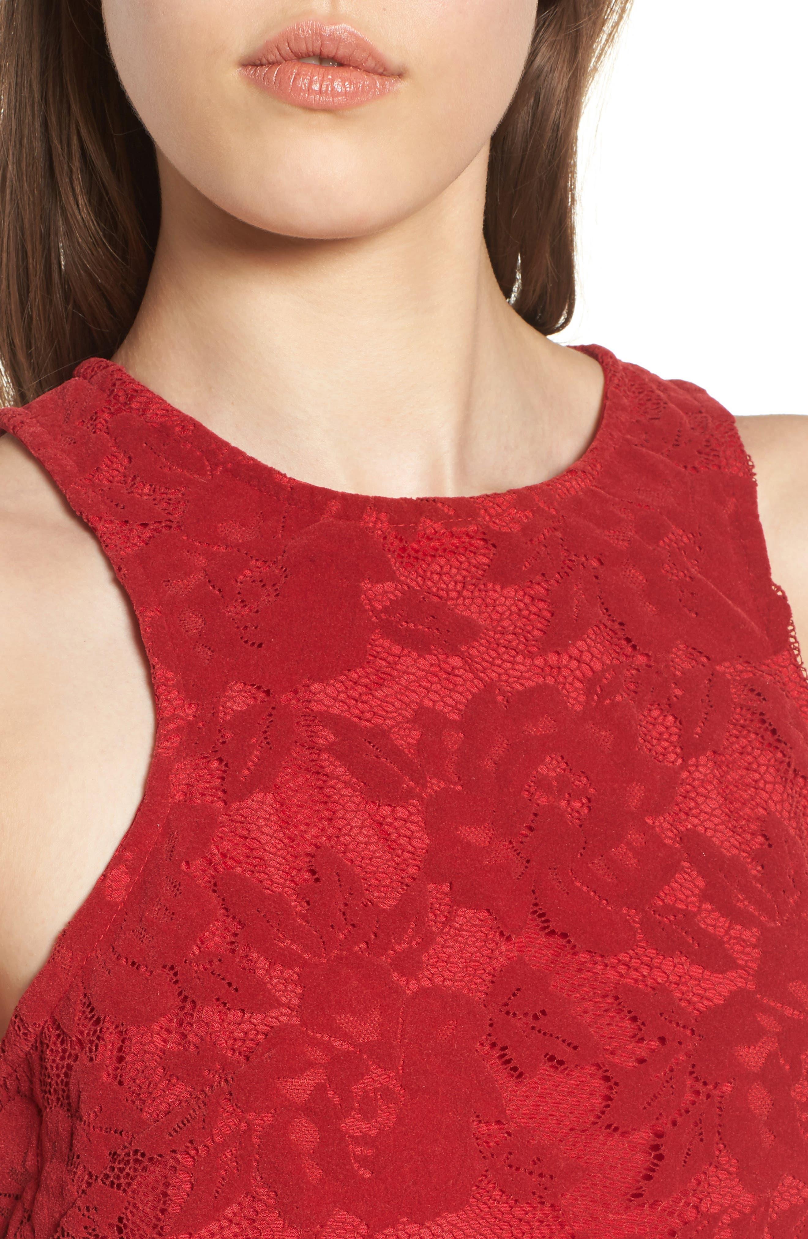 Caspian Lace Sheath Dress,                             Alternate thumbnail 4, color,                             Bordeaux