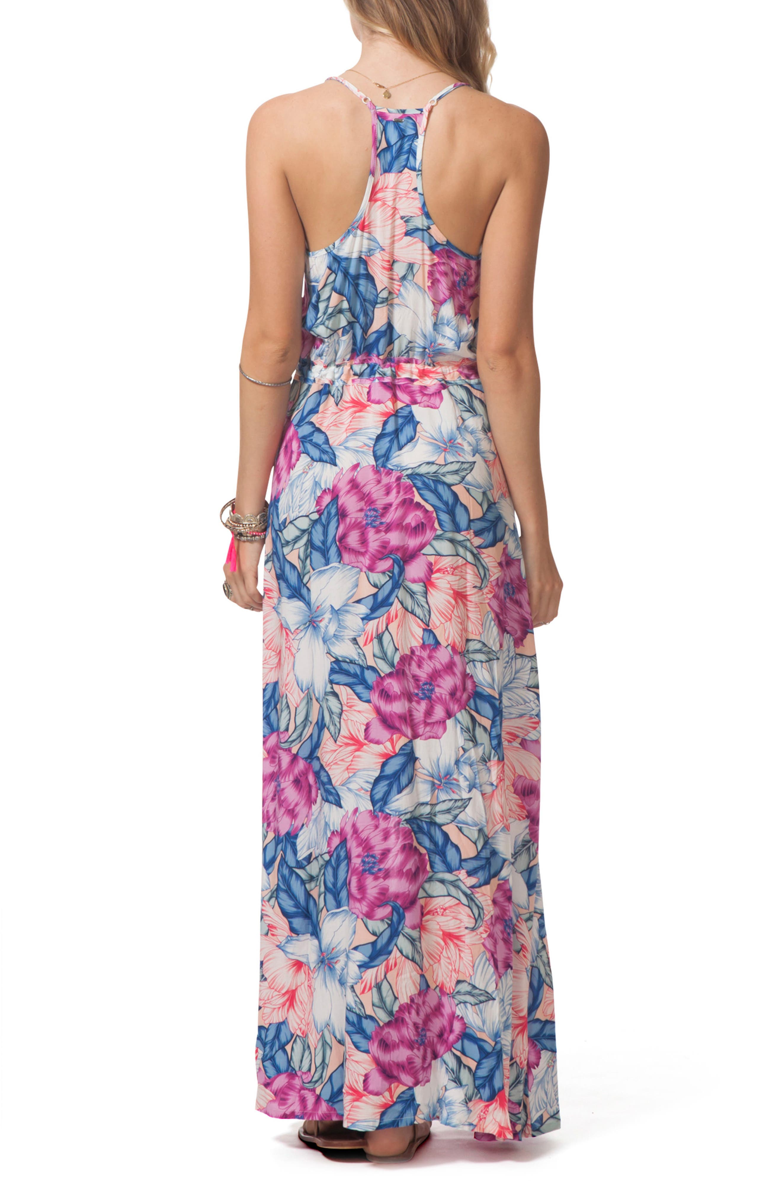 Floral Print Maxi Dress,                             Alternate thumbnail 2, color,                             Multi