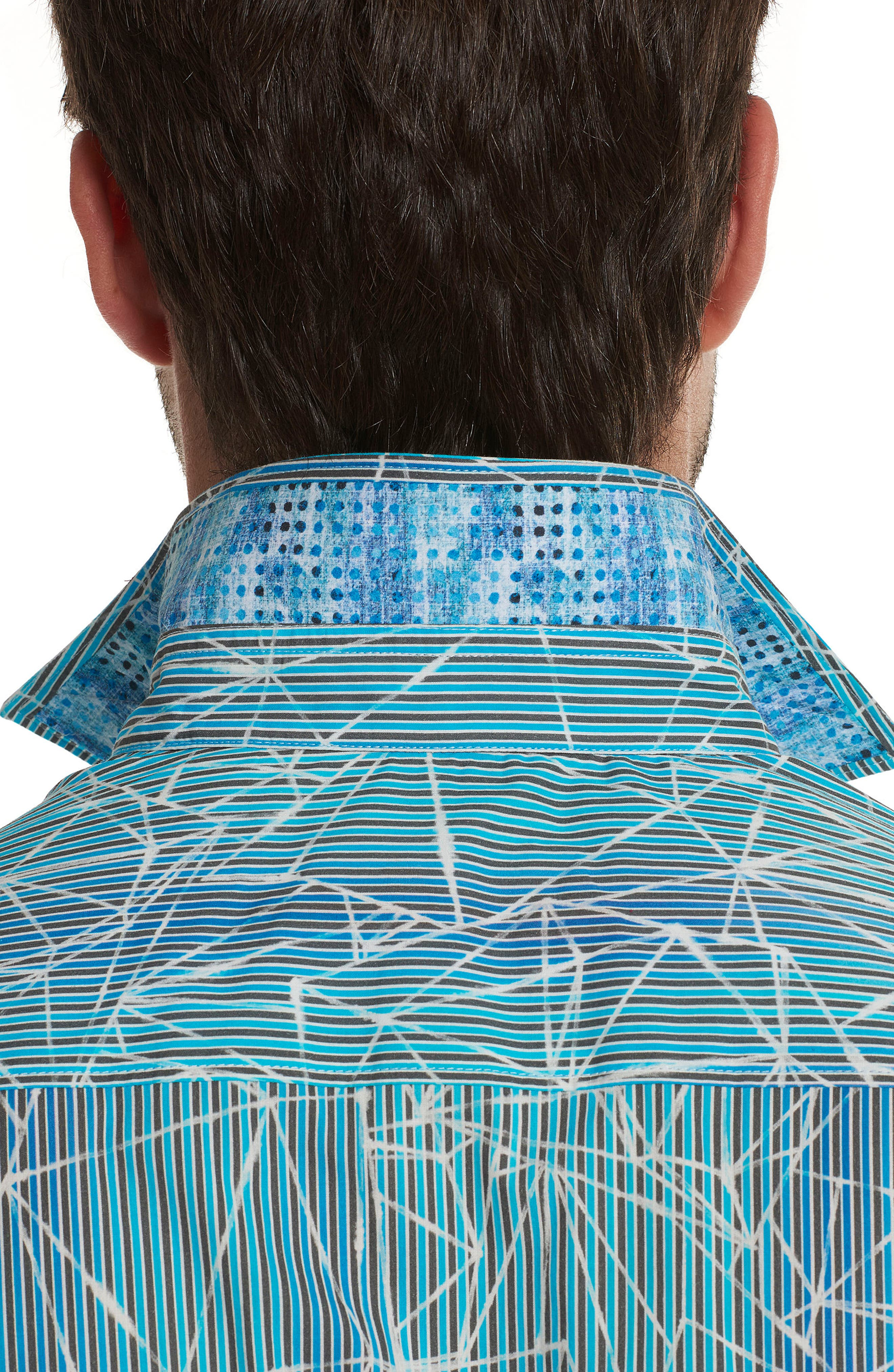 Illusions Print Sport Shirt,                             Alternate thumbnail 3, color,                             Turquoise