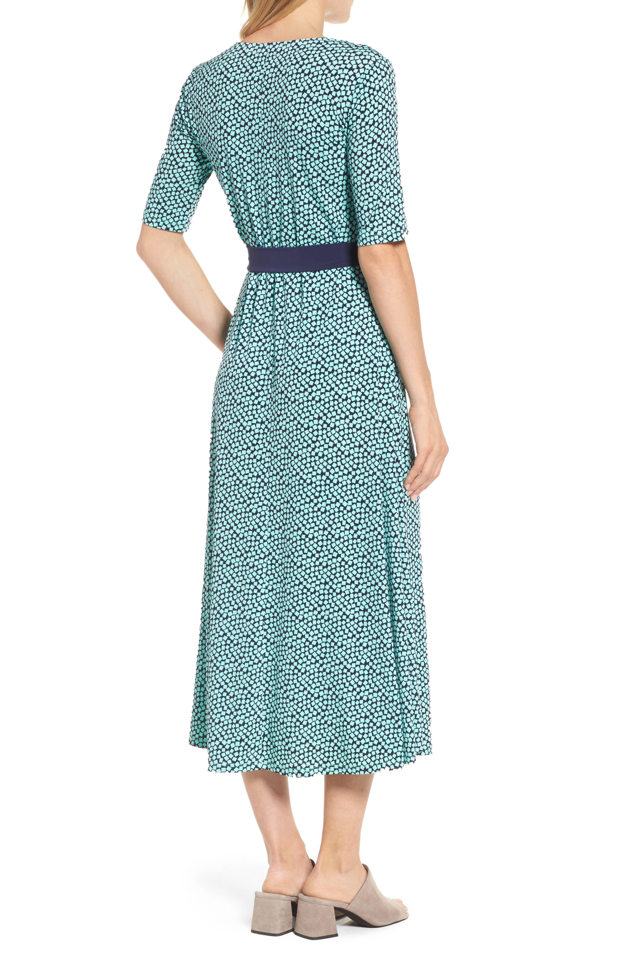 Belted Cube Print Midi Dress,                             Alternate thumbnail 2, color,                             Sea Glass