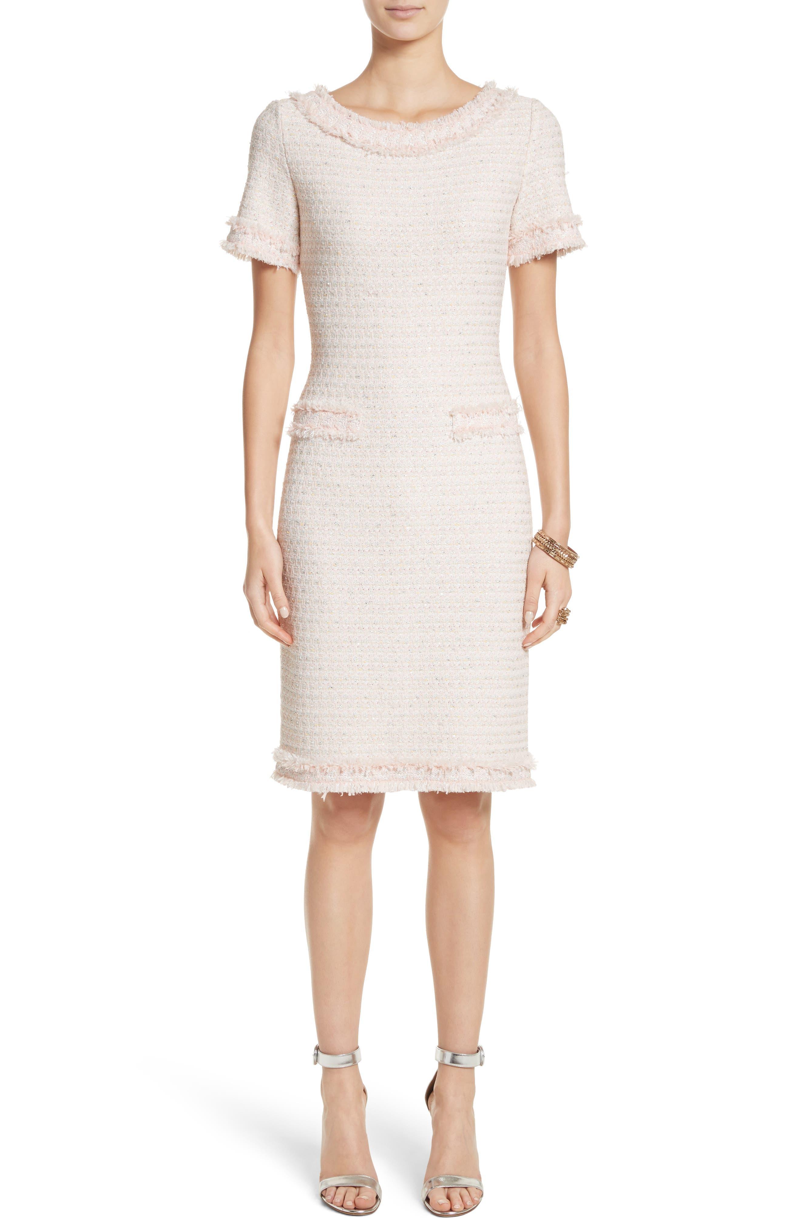 St. John Collection Lais Metallic Tweed Sheath Dress