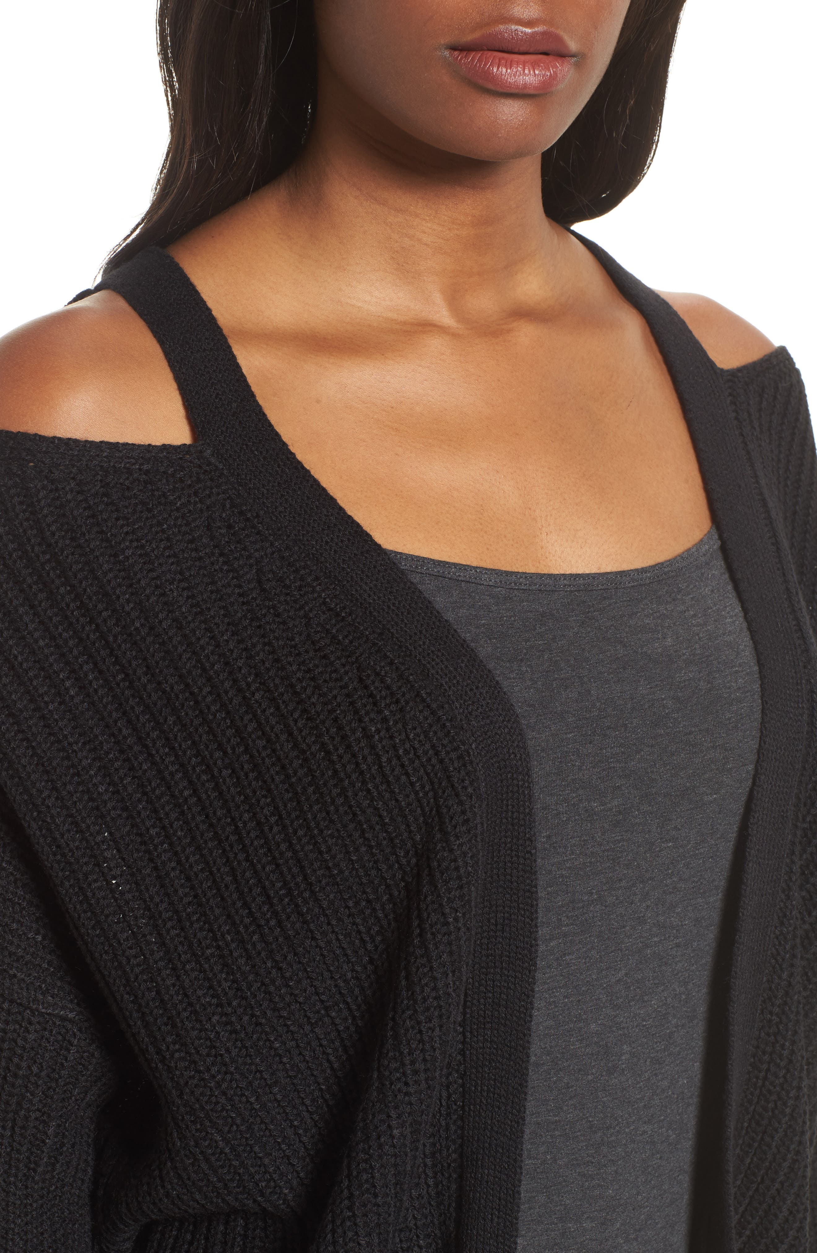 Cutout Cardigan,                             Alternate thumbnail 4, color,                             Black