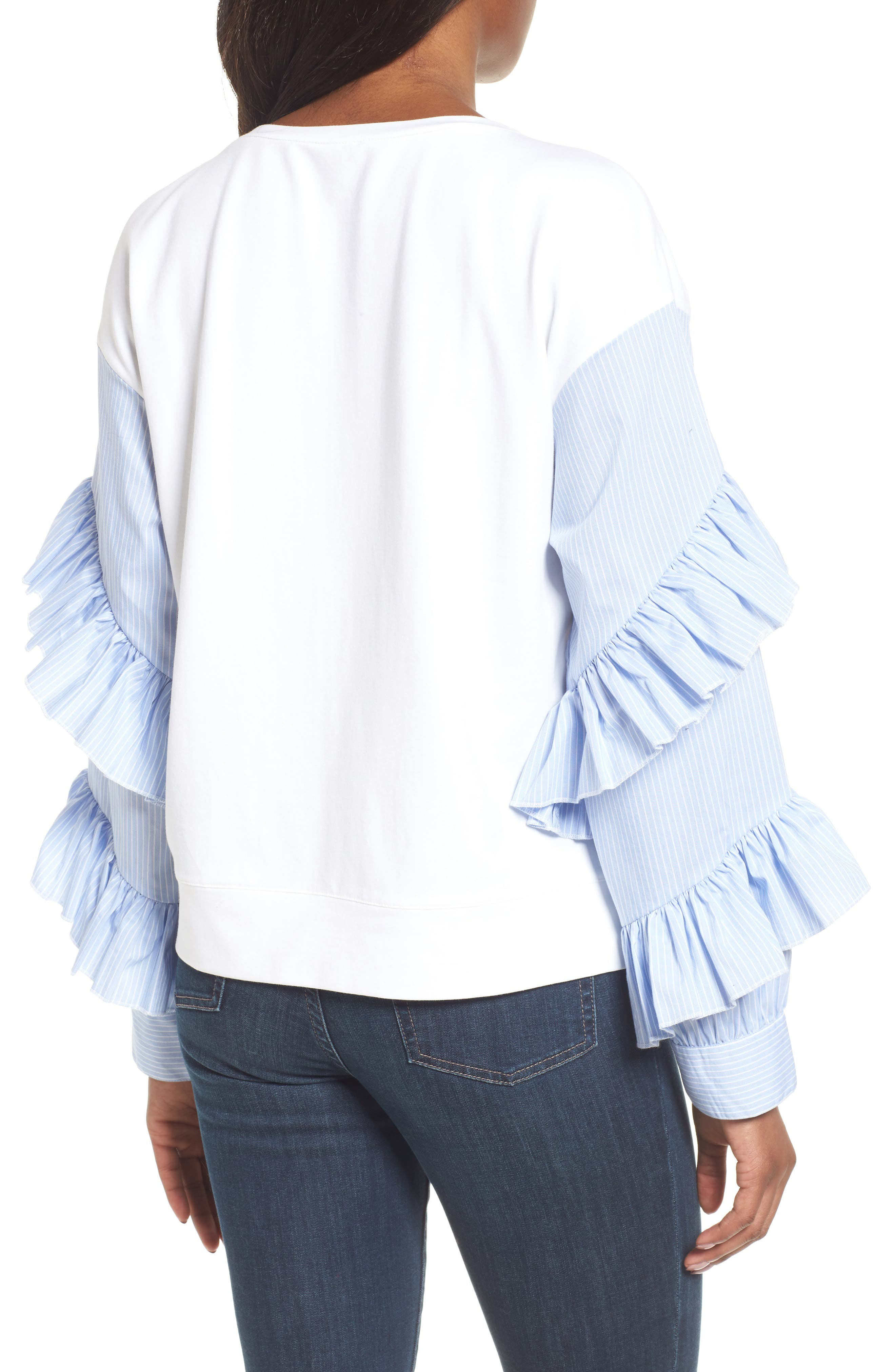 Alternate Image 2  - Halogen® Poplin Ruffle Sleeve Sweatshirt (Regular & Petite)