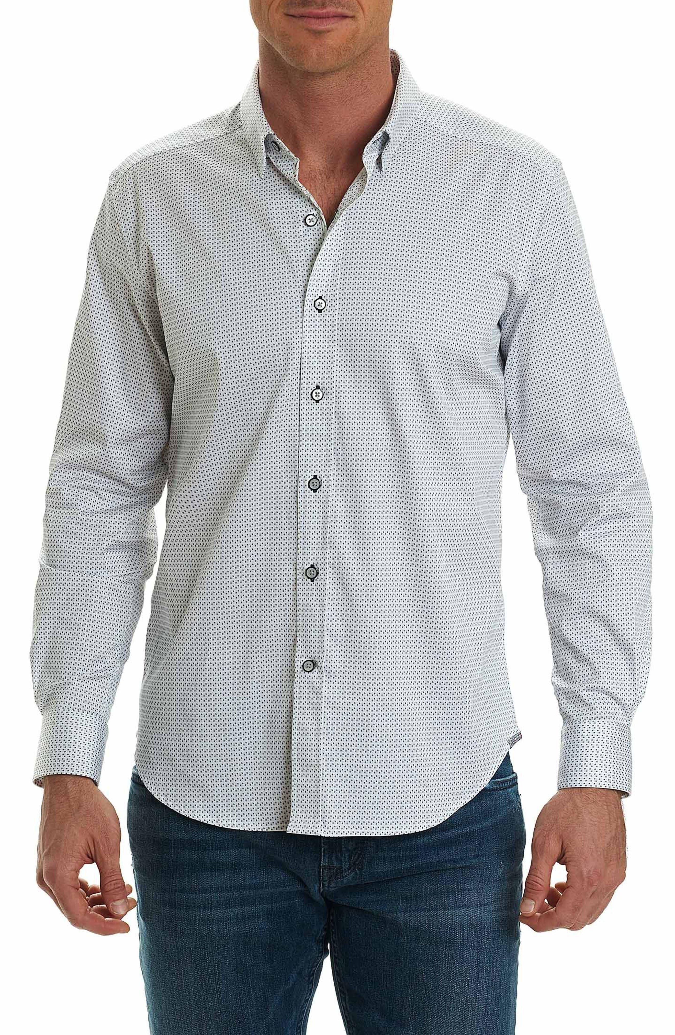 Stone Tailored Fit Print Sport Shirt,                         Main,                         color, Black