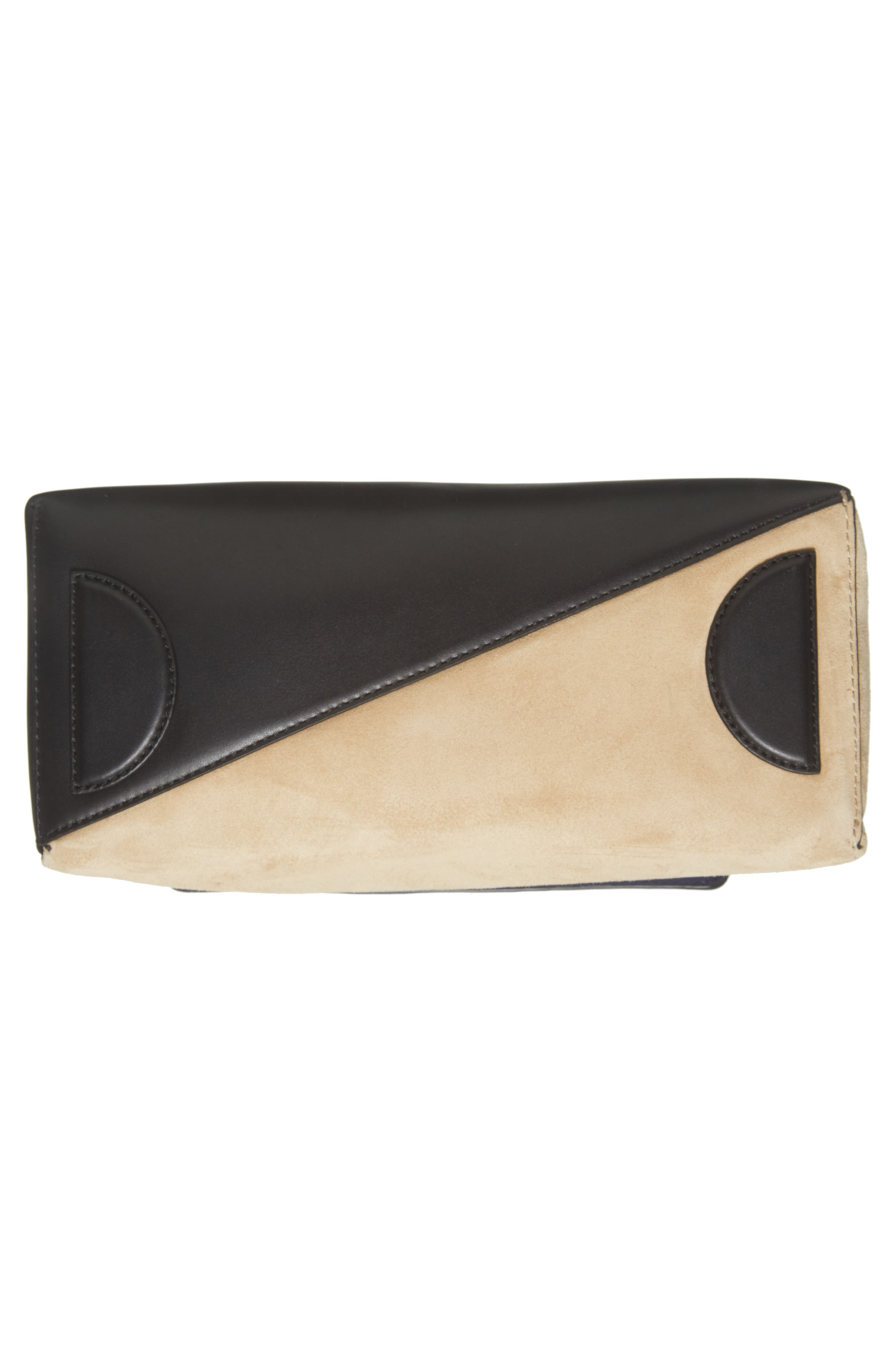 Small Leather & Suede Satchel,                             Alternate thumbnail 6, color,                             Black