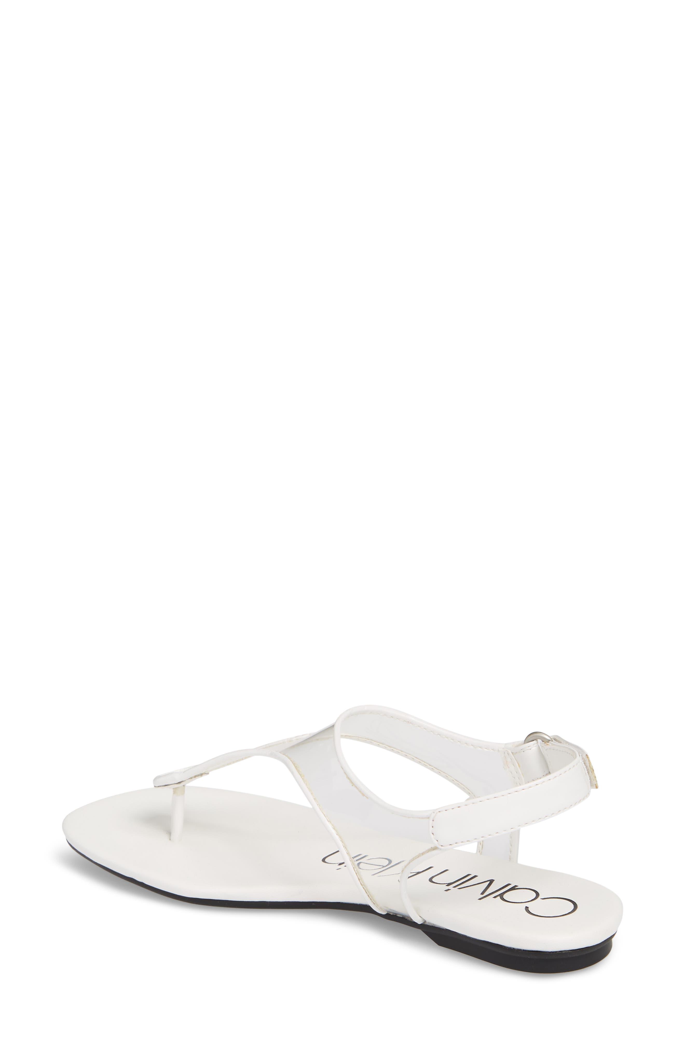 Shilo Clear Strap Sandal,                             Alternate thumbnail 2, color,                             Platinum White Faux Leather