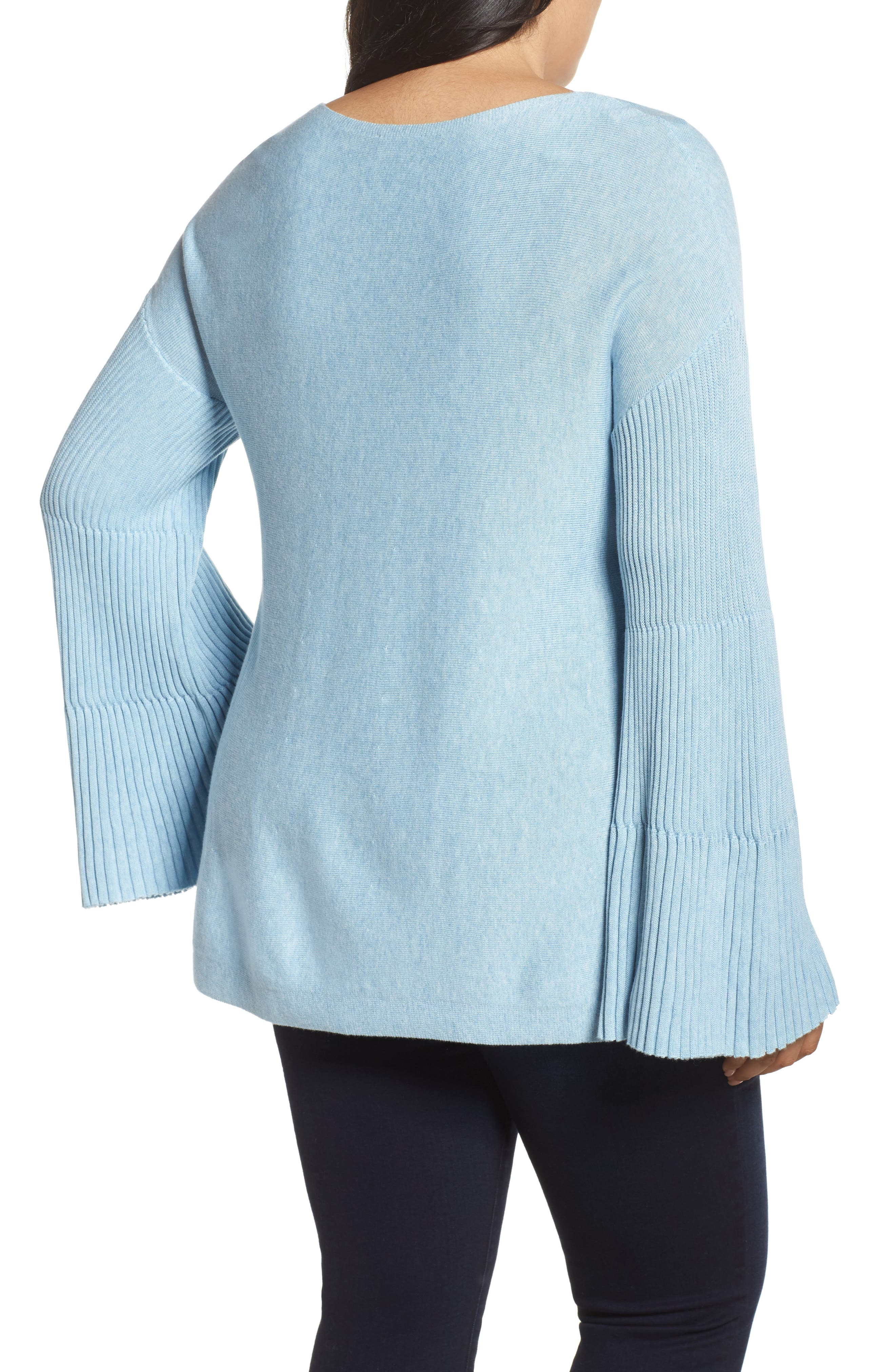 Alternate Image 2  - Vince Camuto Ribbed Bell Sleeve Sweater (Plus Size)