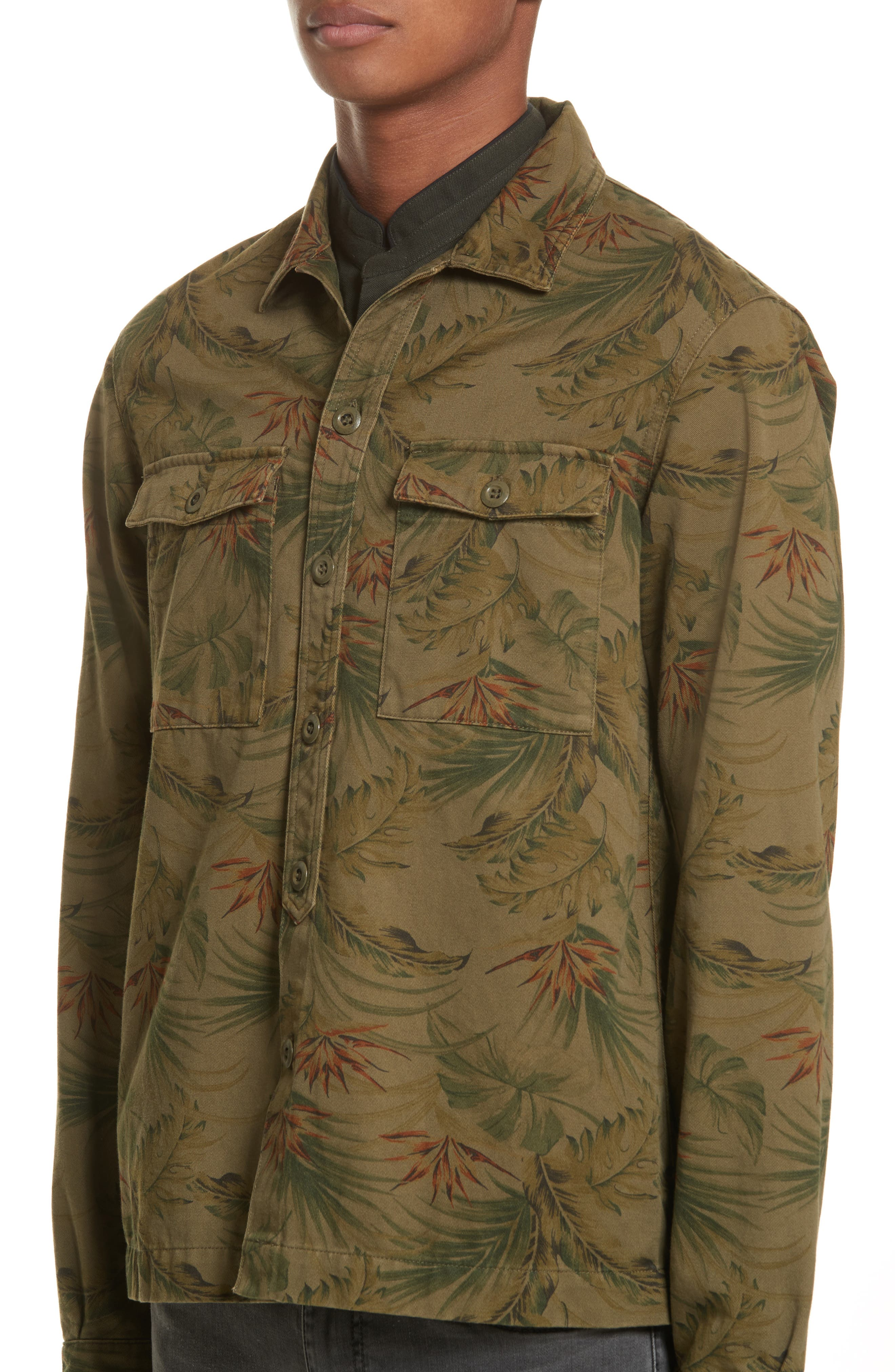 Flower Denim Jacket,                             Alternate thumbnail 4, color,                             Khaki