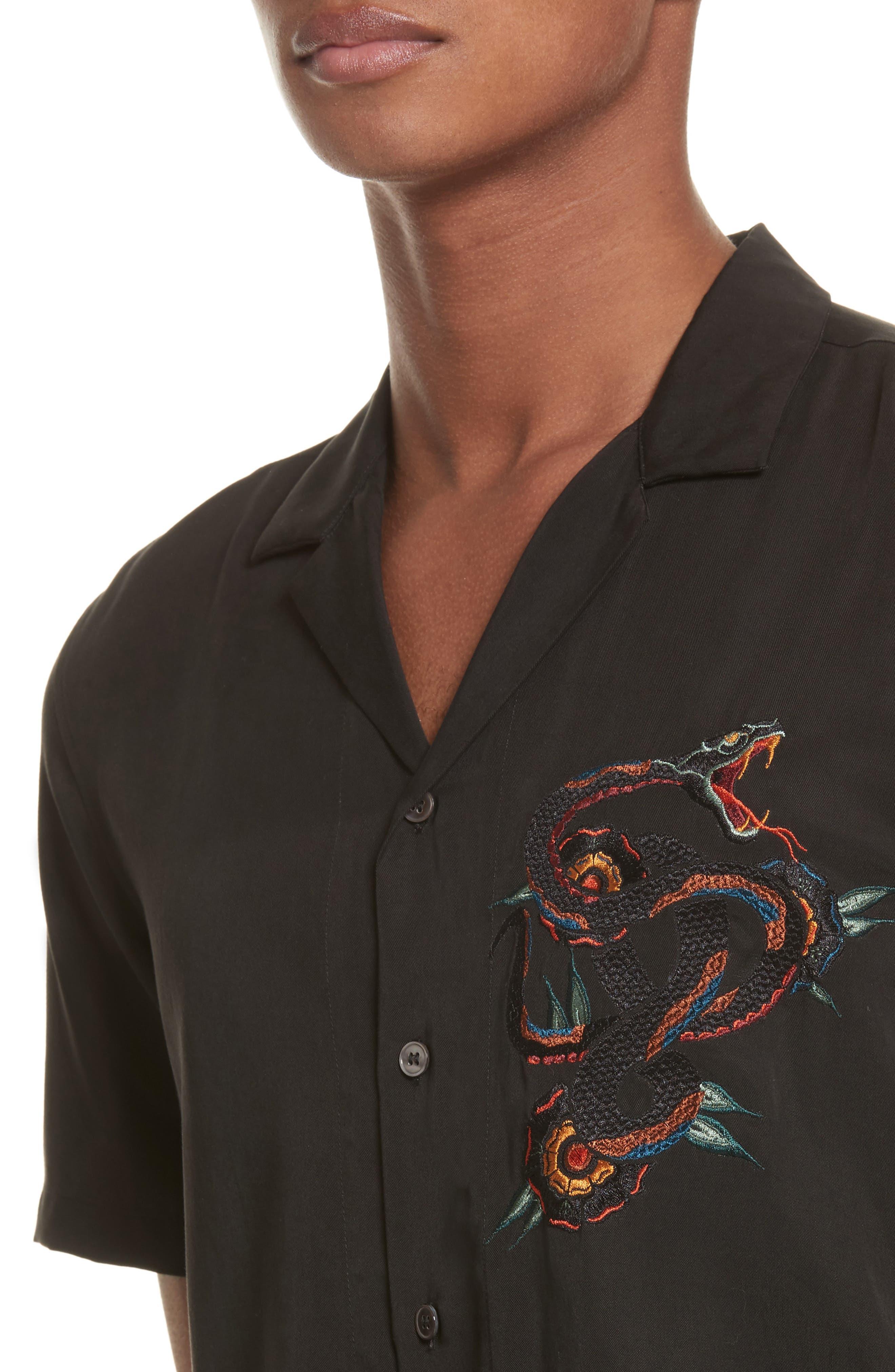 Embroidered Snake Camp Shirt,                             Alternate thumbnail 4, color,                             Black