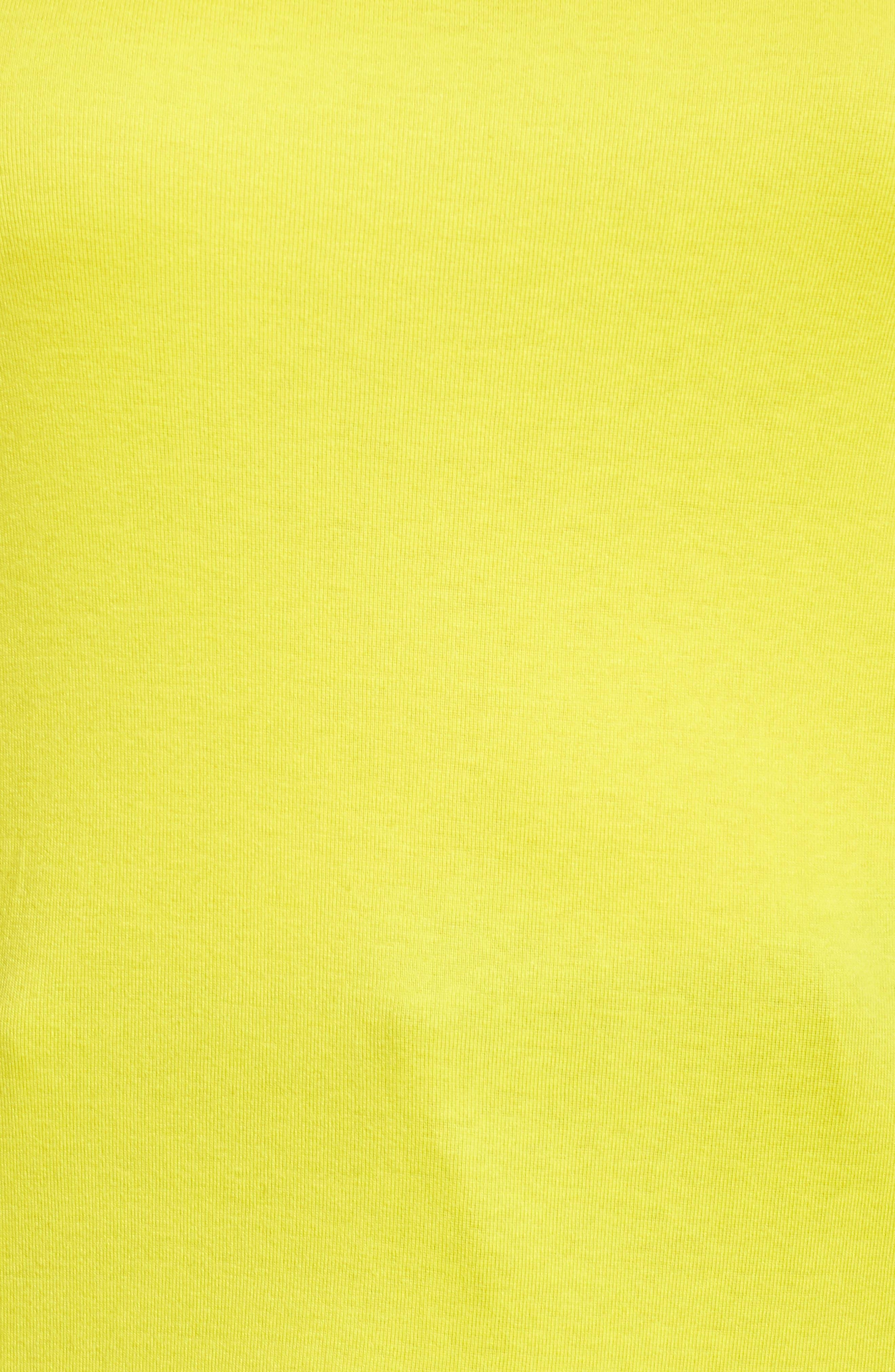 Cap Sleeve Ribbed Tee,                             Alternate thumbnail 5, color,                             Yellow Vibrant