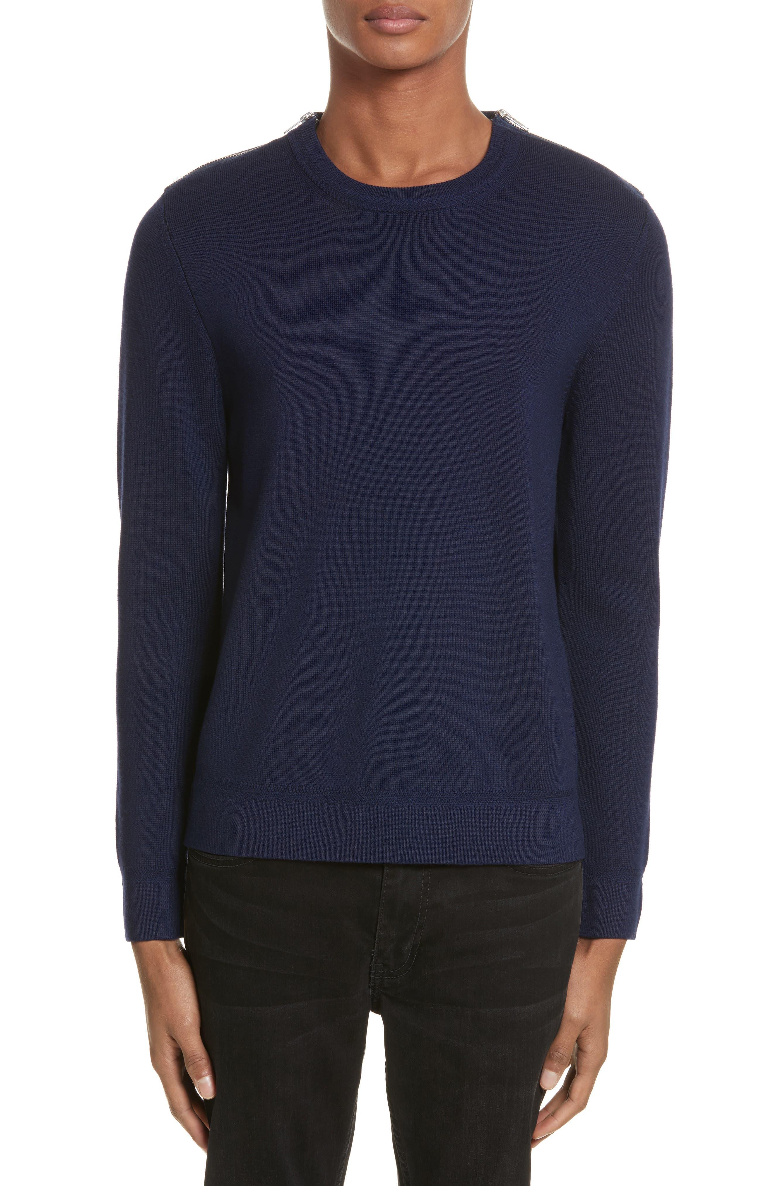 Merino Wool Blend Sweater with Shoulder Zip Trim,                         Main,                         color, Navy