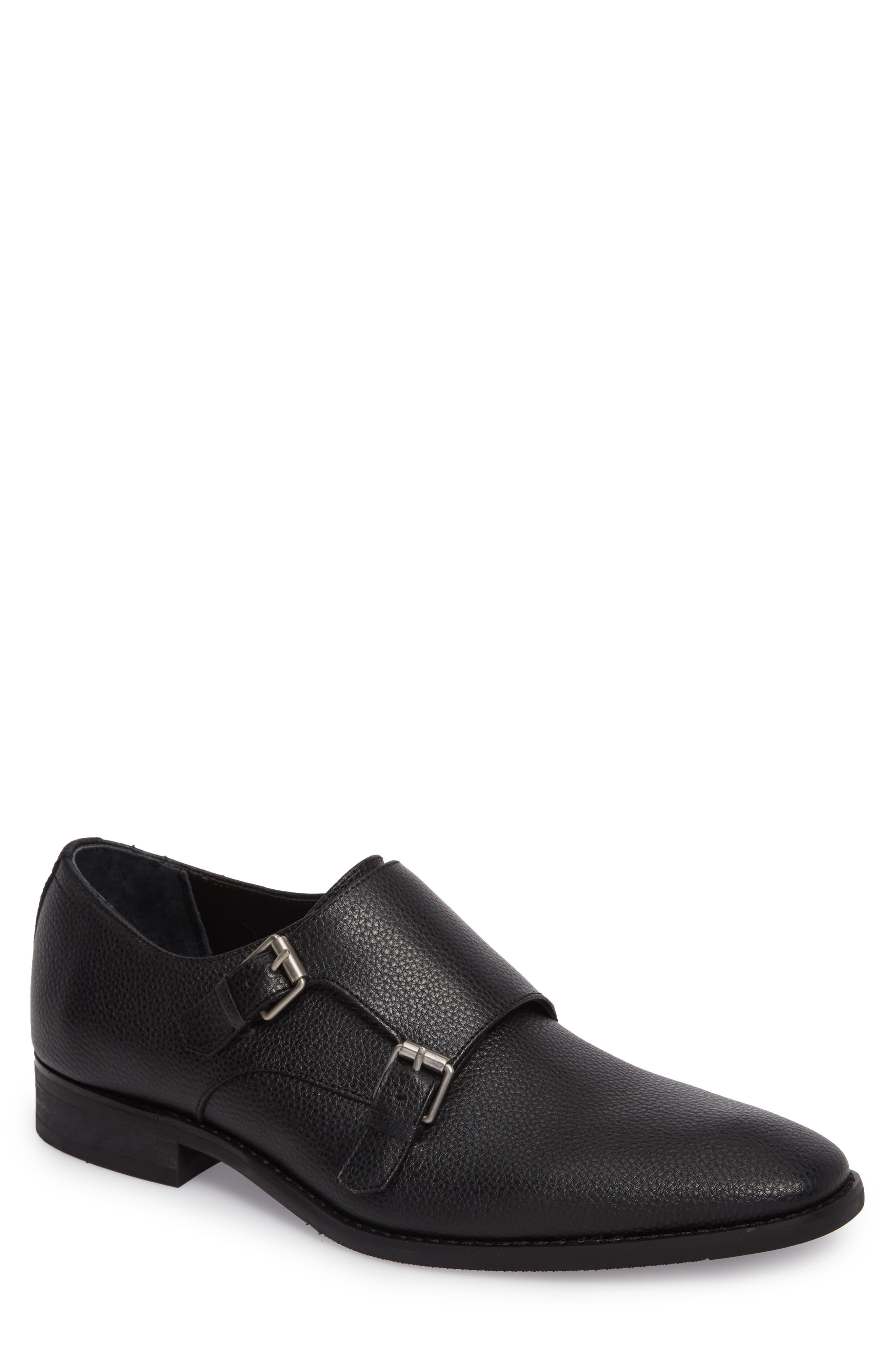 Robbie Double Monk Strap Shoe,                             Main thumbnail 1, color,                             Black Leather