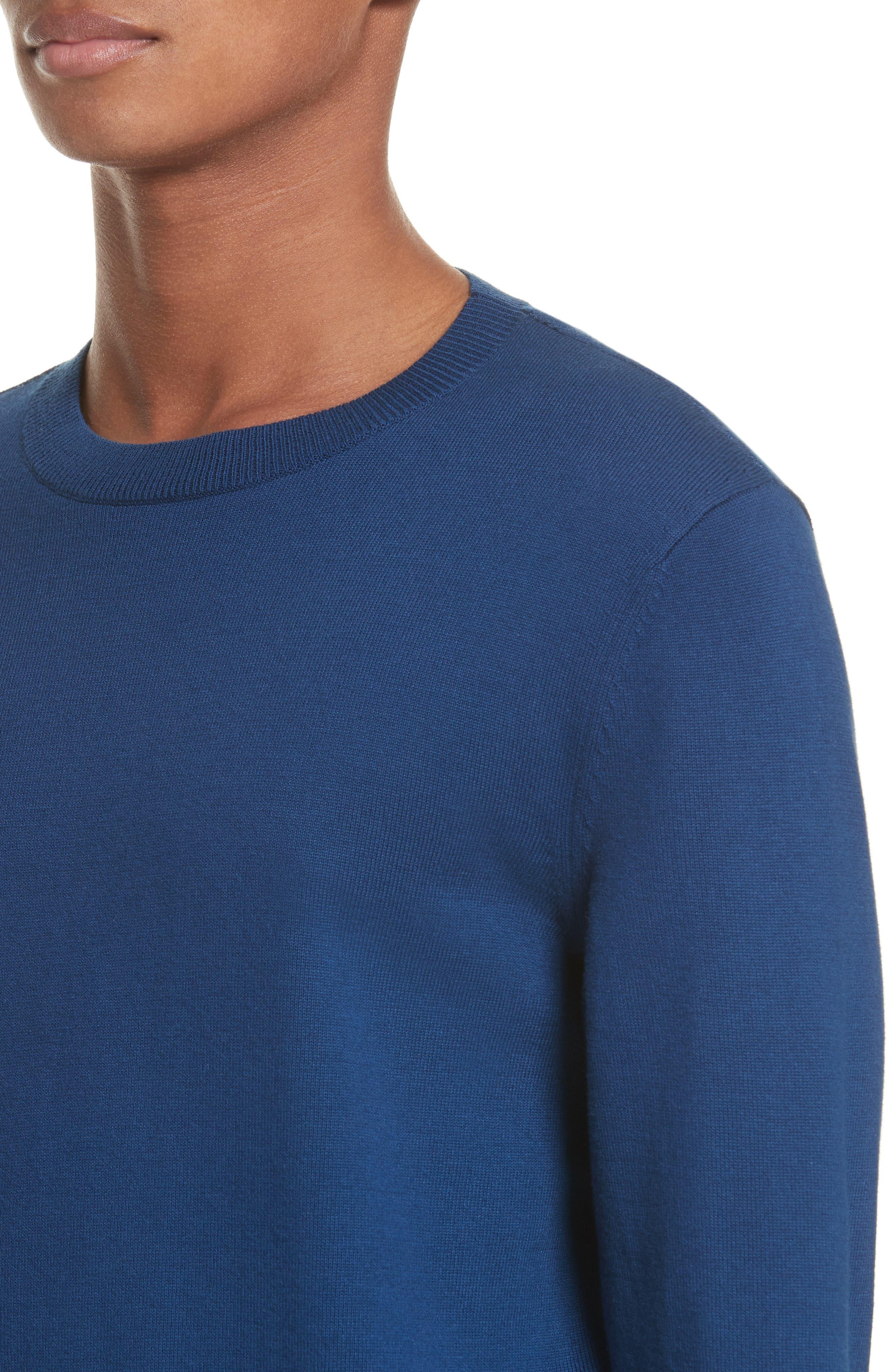 CIA Crewneck Sweater,                             Alternate thumbnail 4, color,                             Bleu Fonce Iah