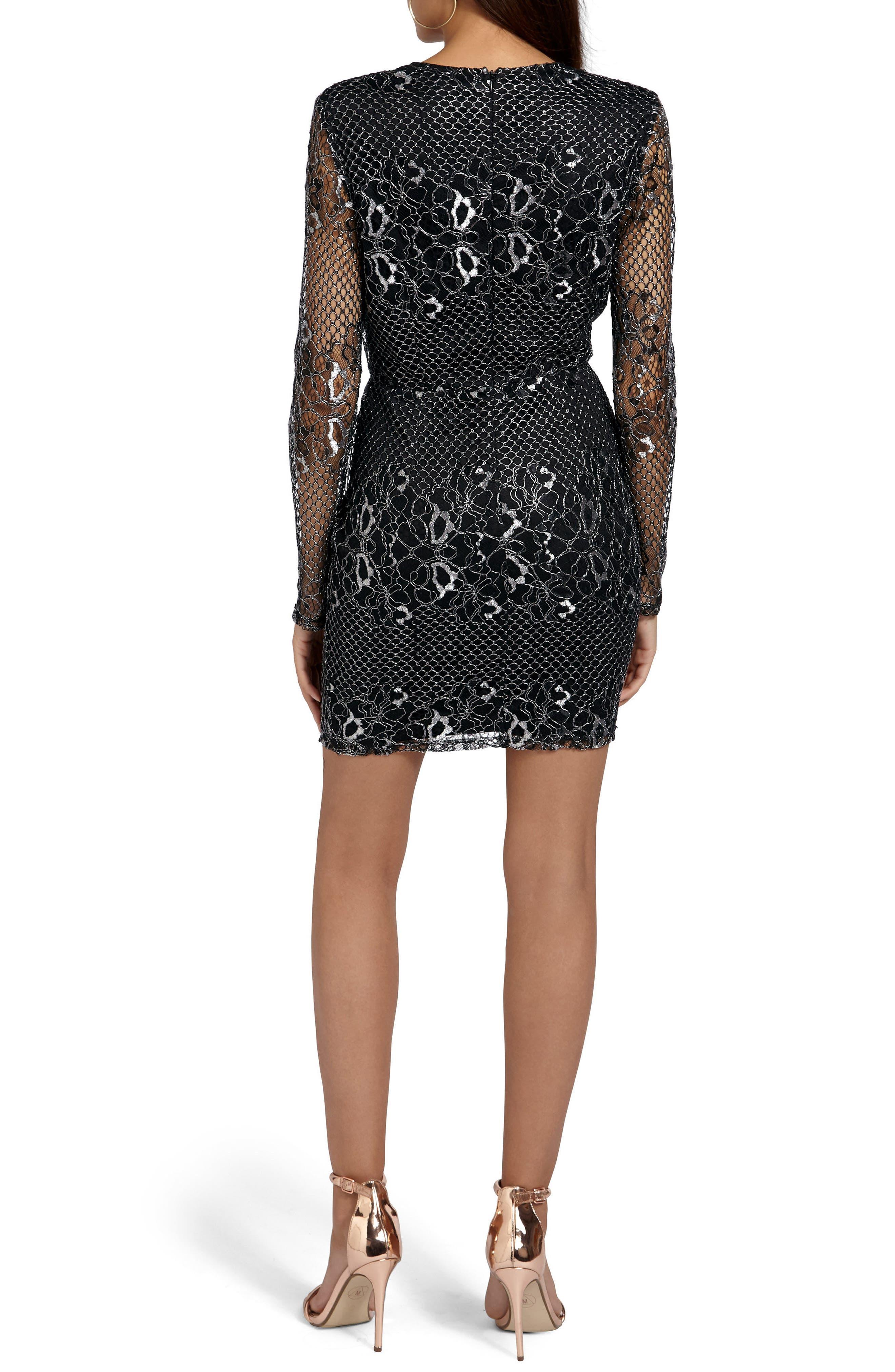 Mesh & Lace Minidress,                             Alternate thumbnail 2, color,                             Silver