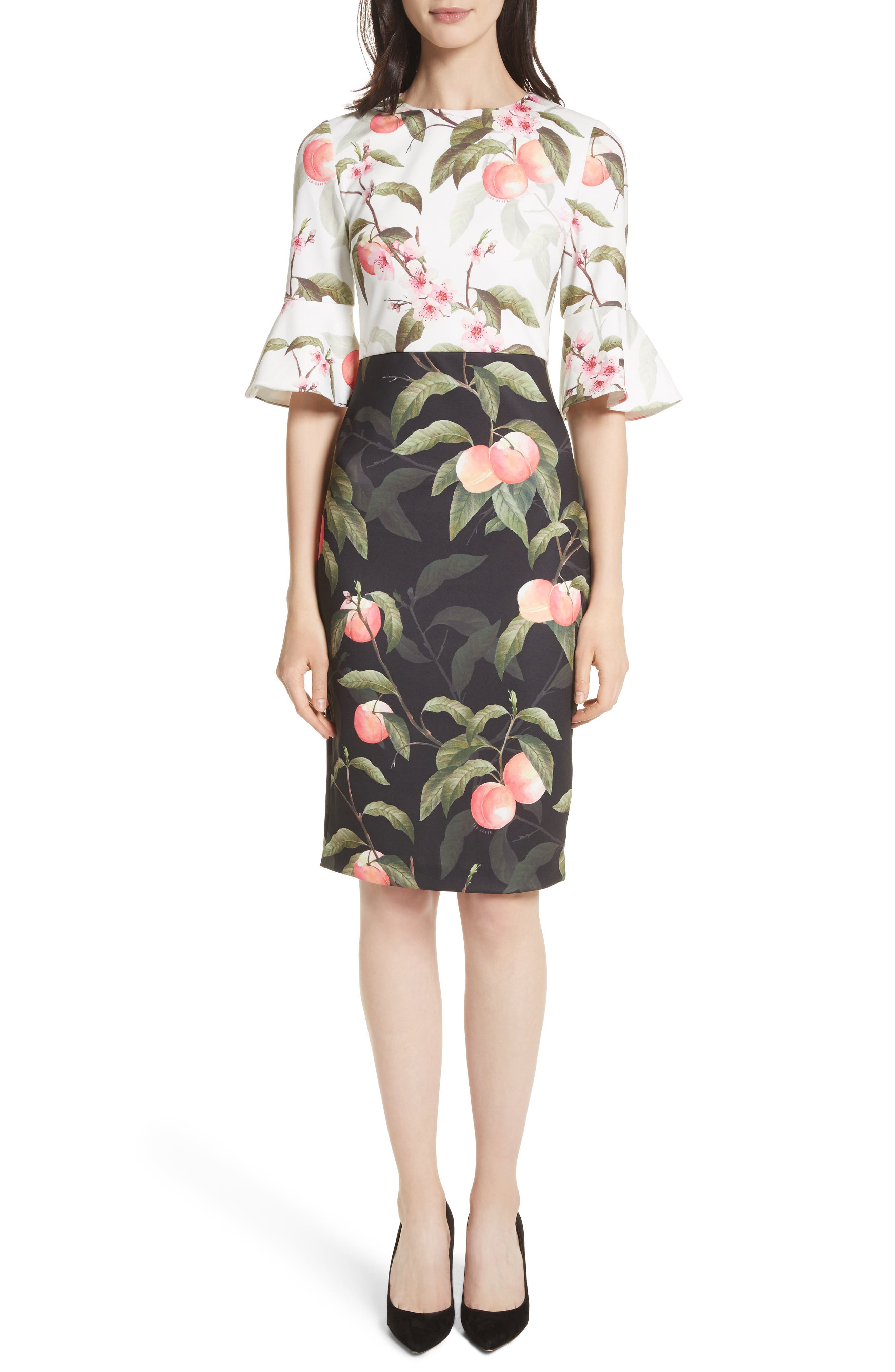 Alternate Image 1 Selected - Ted Baker London Peach Blossom Sheath Dress