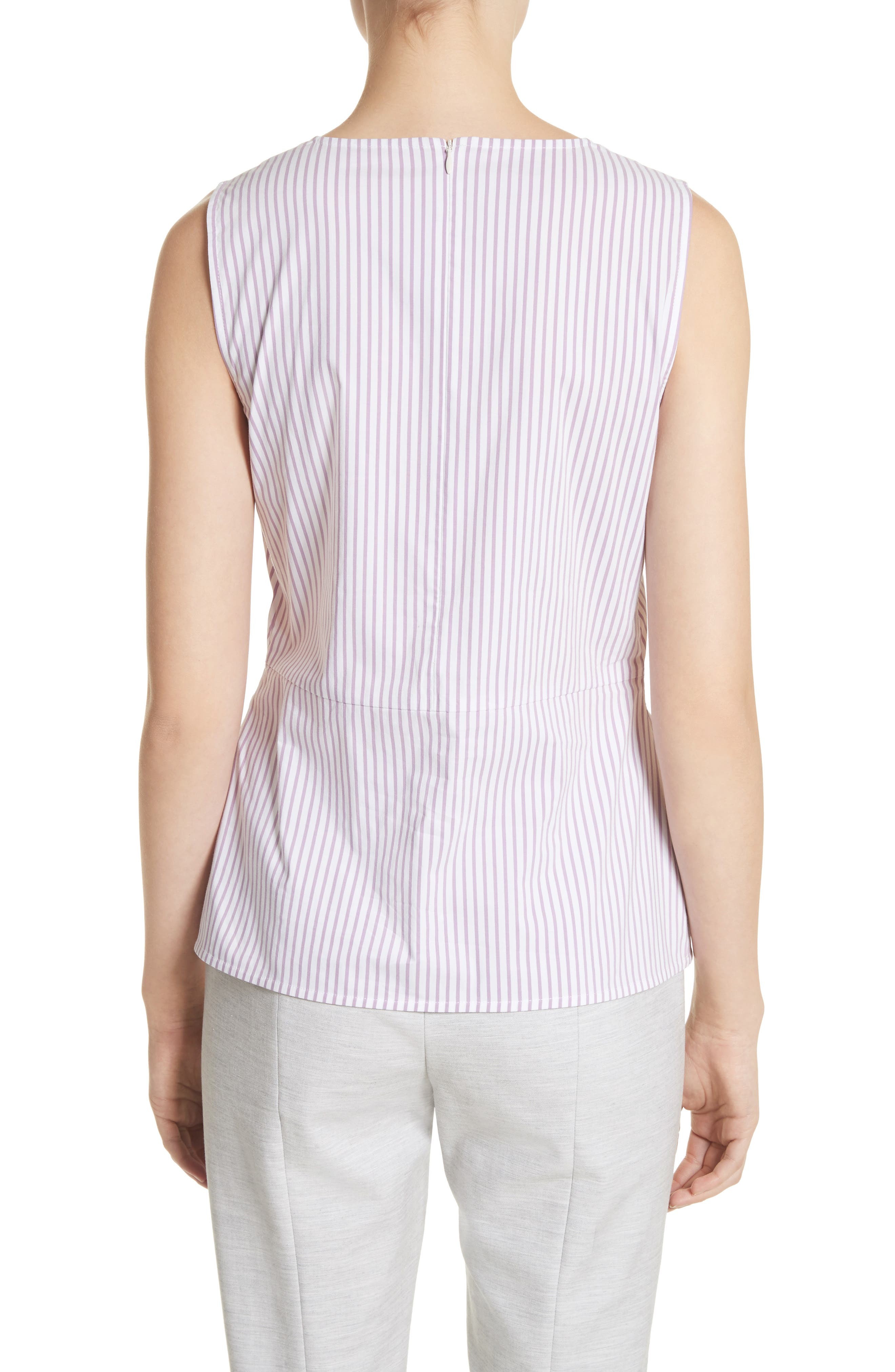 Pinstripe Twist Front Top,                             Alternate thumbnail 2, color,                             Orchid/ Bianco