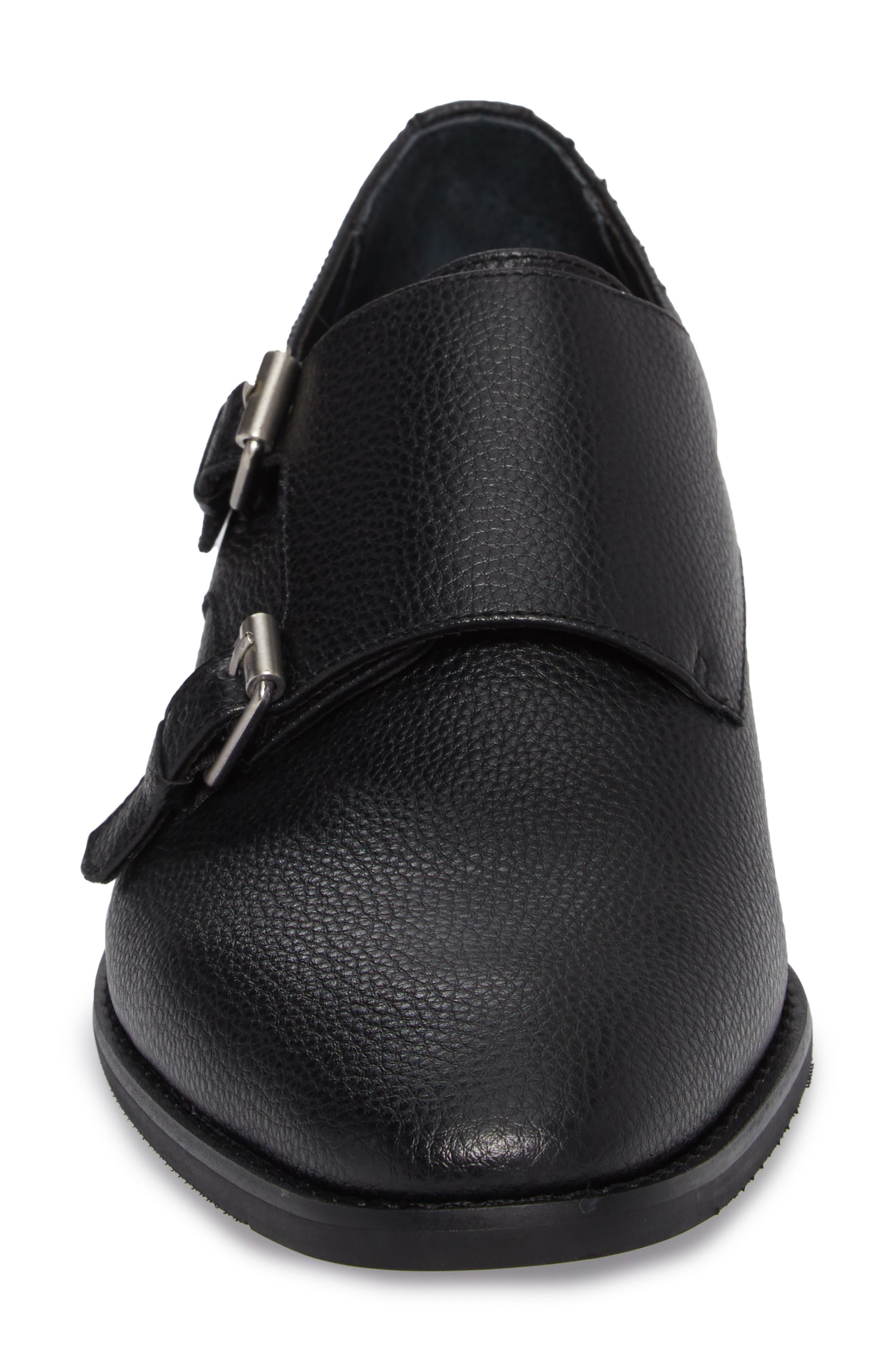 Robbie Double Monk Strap Shoe,                             Alternate thumbnail 4, color,                             Black Leather