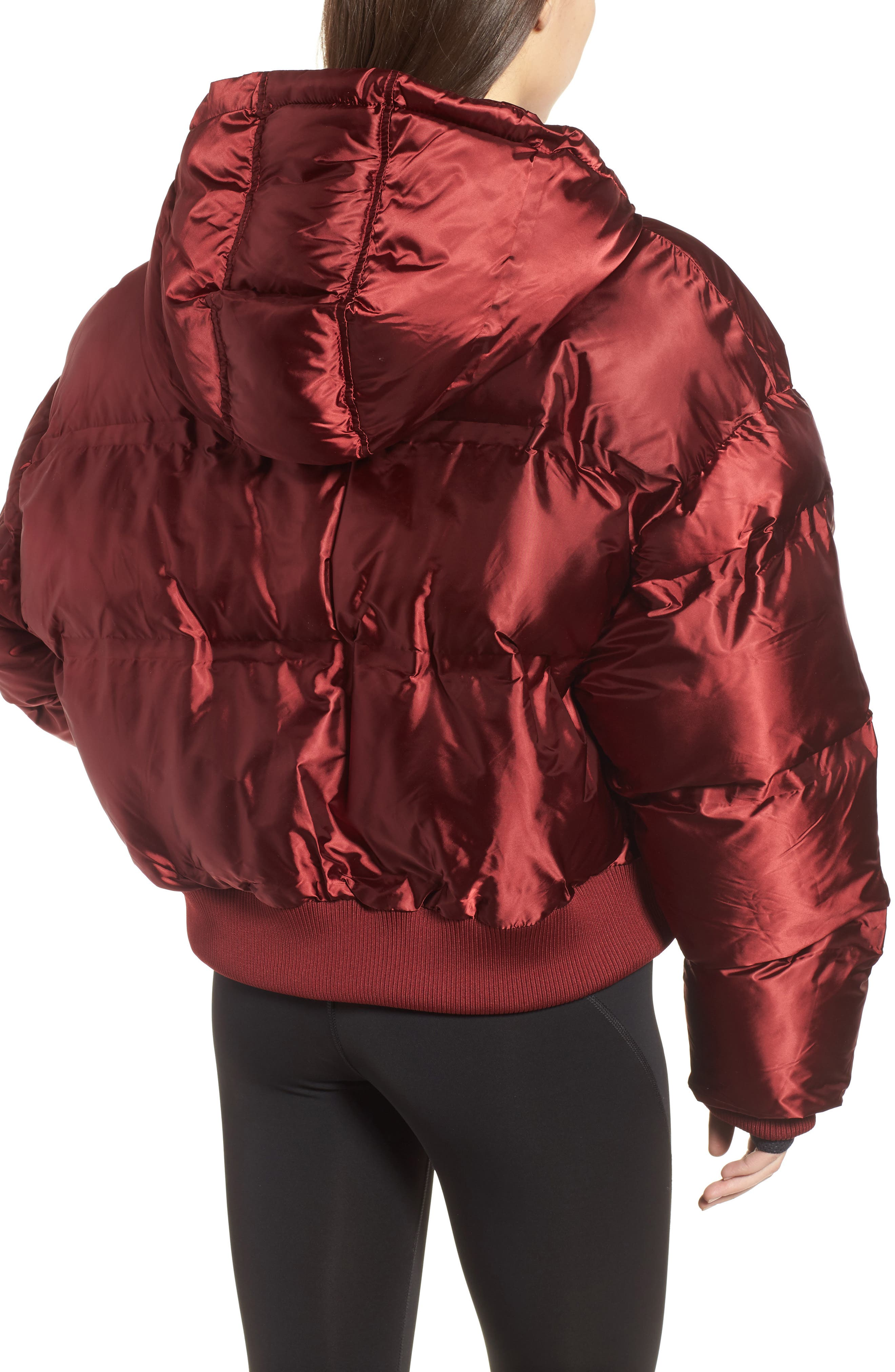 Crop Hooded Puffer Jacket,                             Alternate thumbnail 2, color,                             Russet