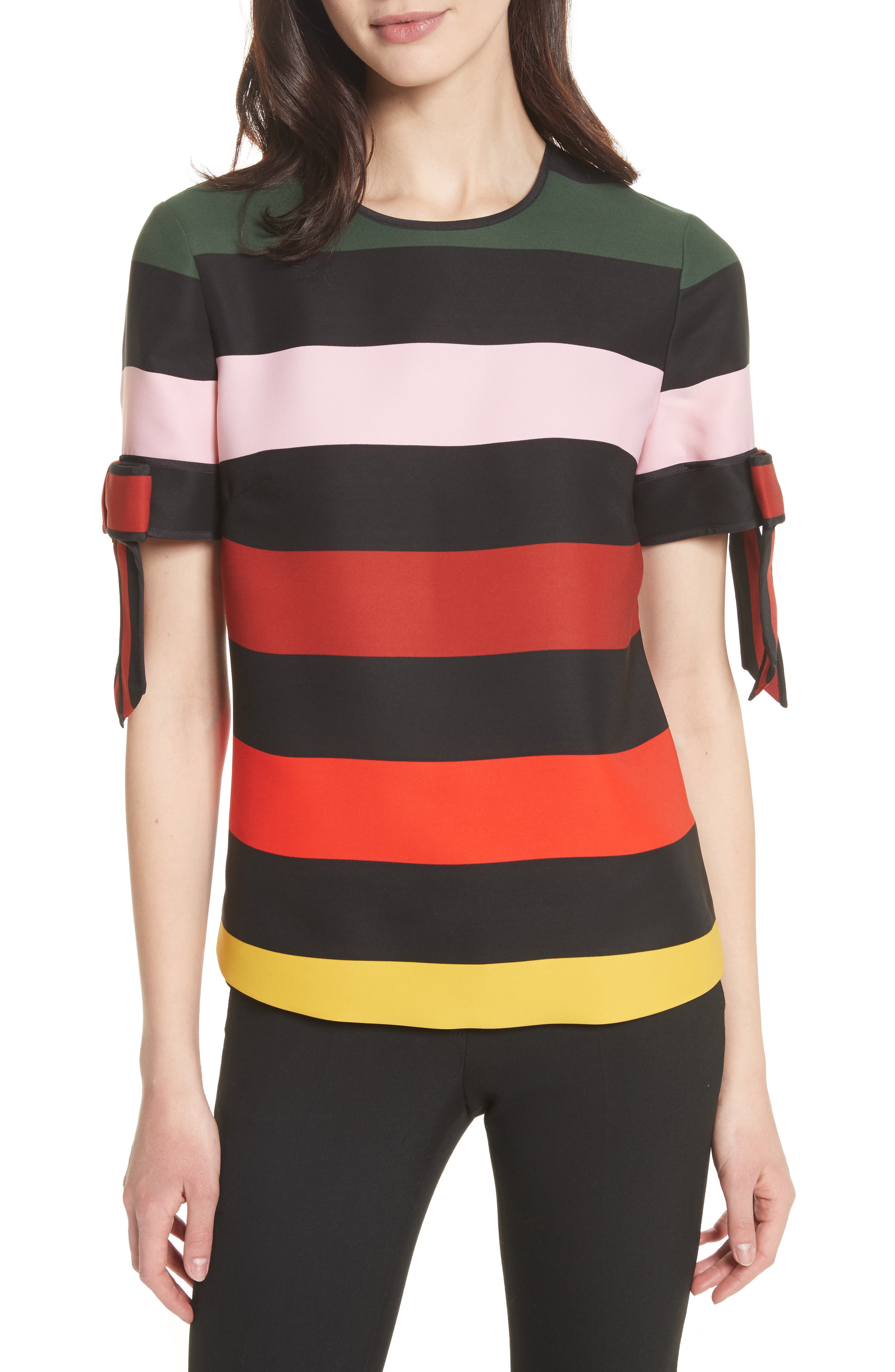 Cruise Stripe Bow Sleeve Top,                         Main,                         color, Black