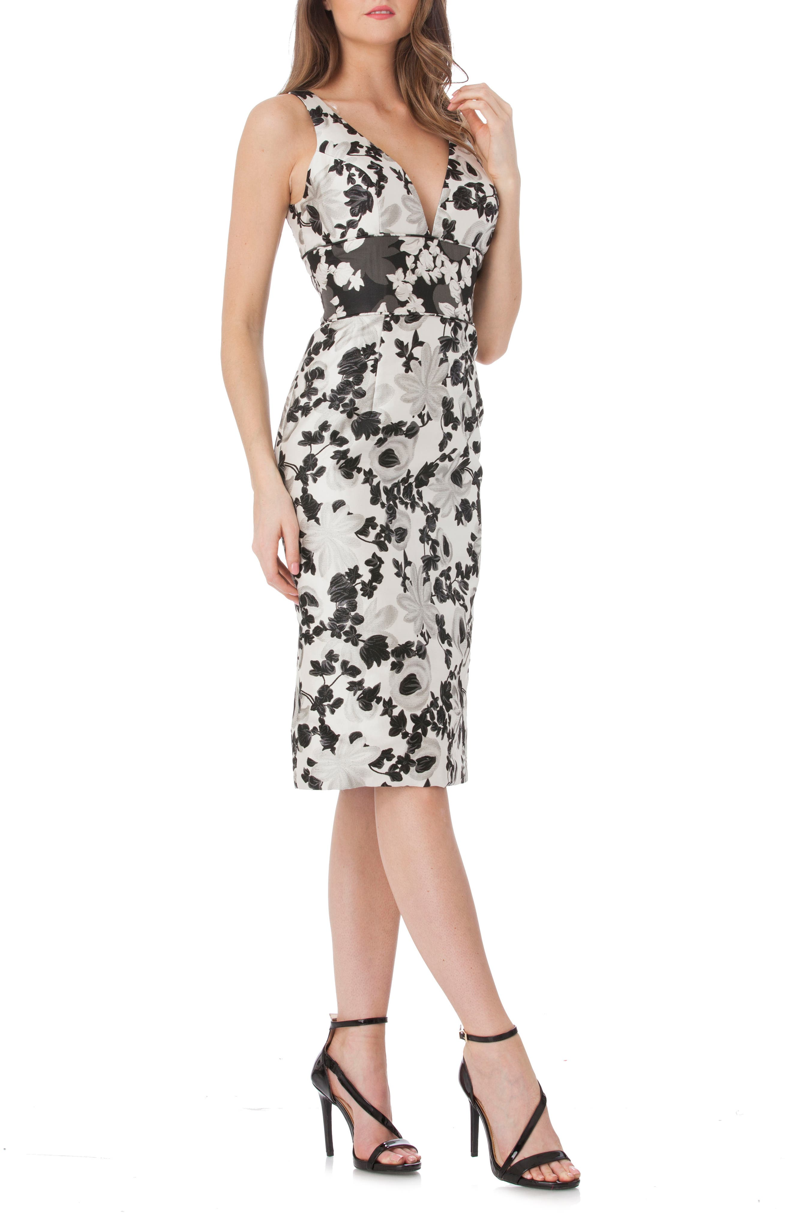 Floral V-Neck Sheath Dress,                             Main thumbnail 1, color,                             Black/ White
