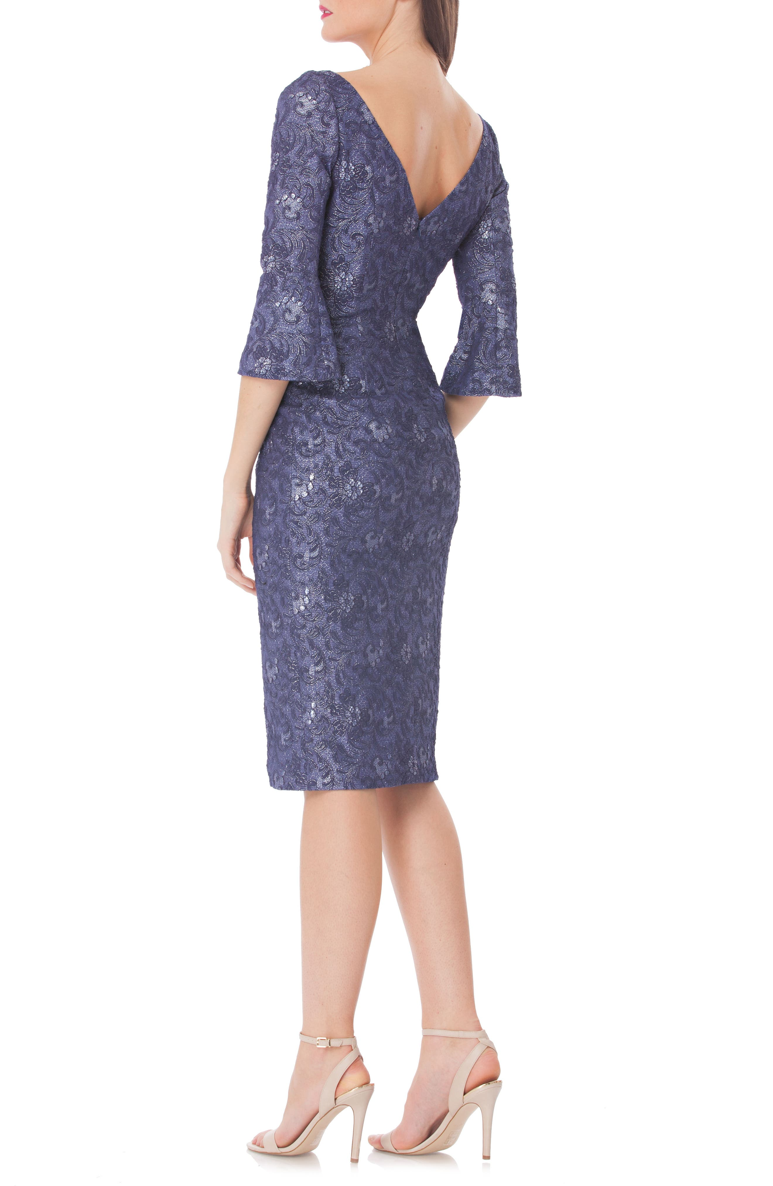 Alternate Image 2  - JS Collections Bell Sleeve Matelassé Sheath Dress
