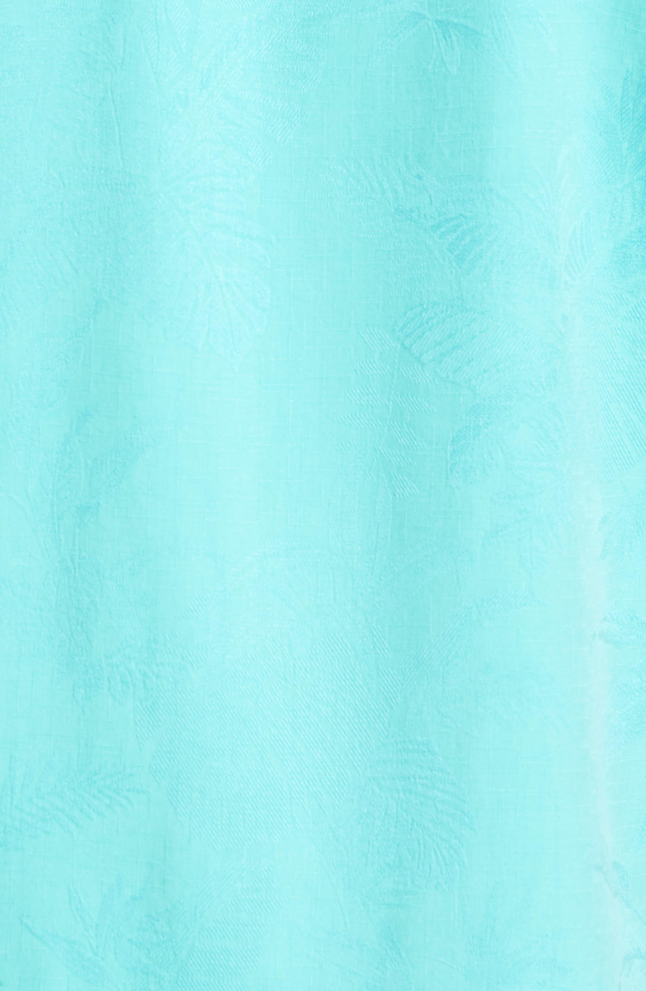 St Lucia Fronds Silk Camp Shirt,                             Alternate thumbnail 5, color,                             Castaway Green