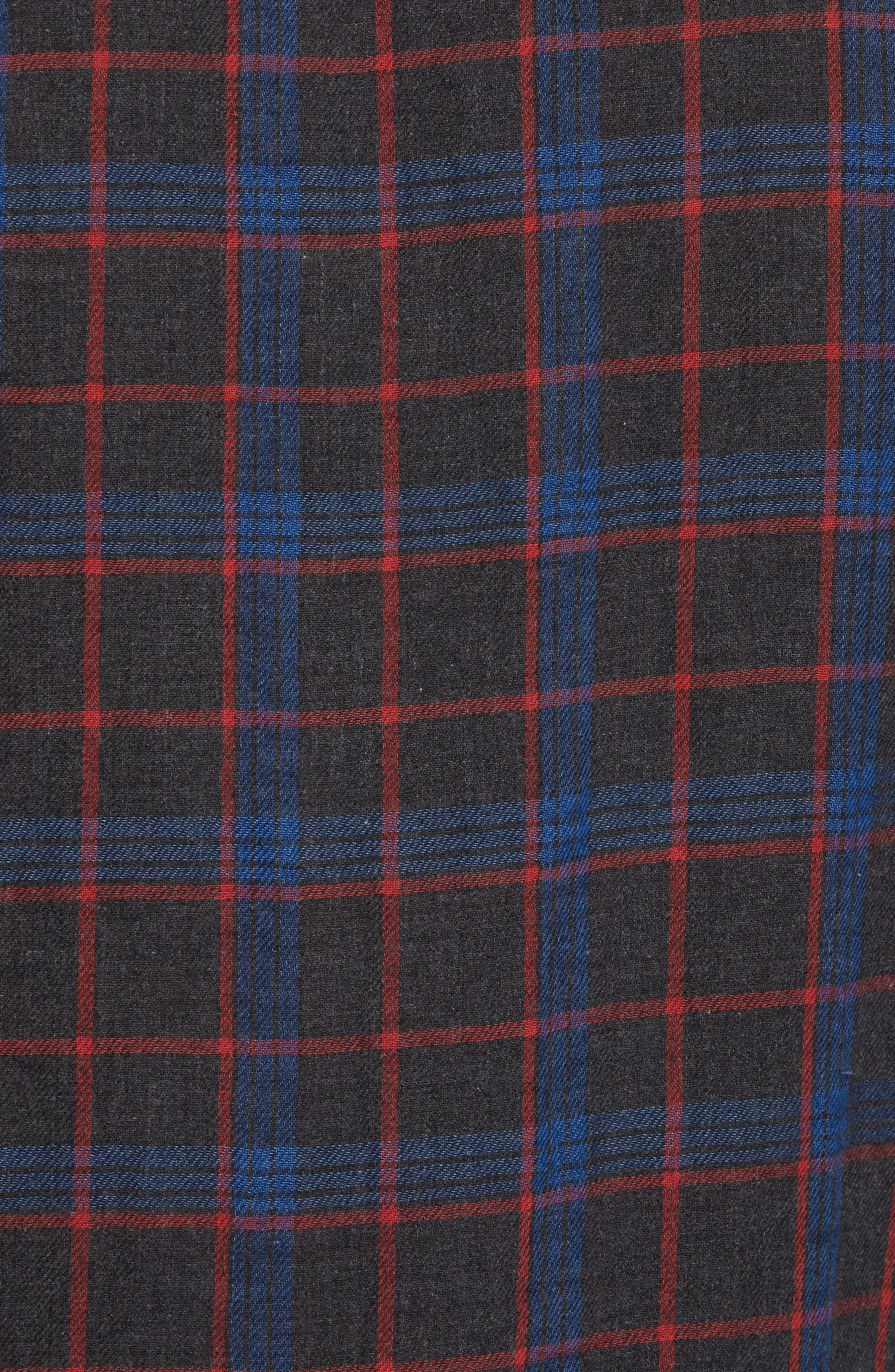 Belmar Plaid Reversible Sport Shirt,                             Alternate thumbnail 6, color,                             Charcoal Blue Red Plaid