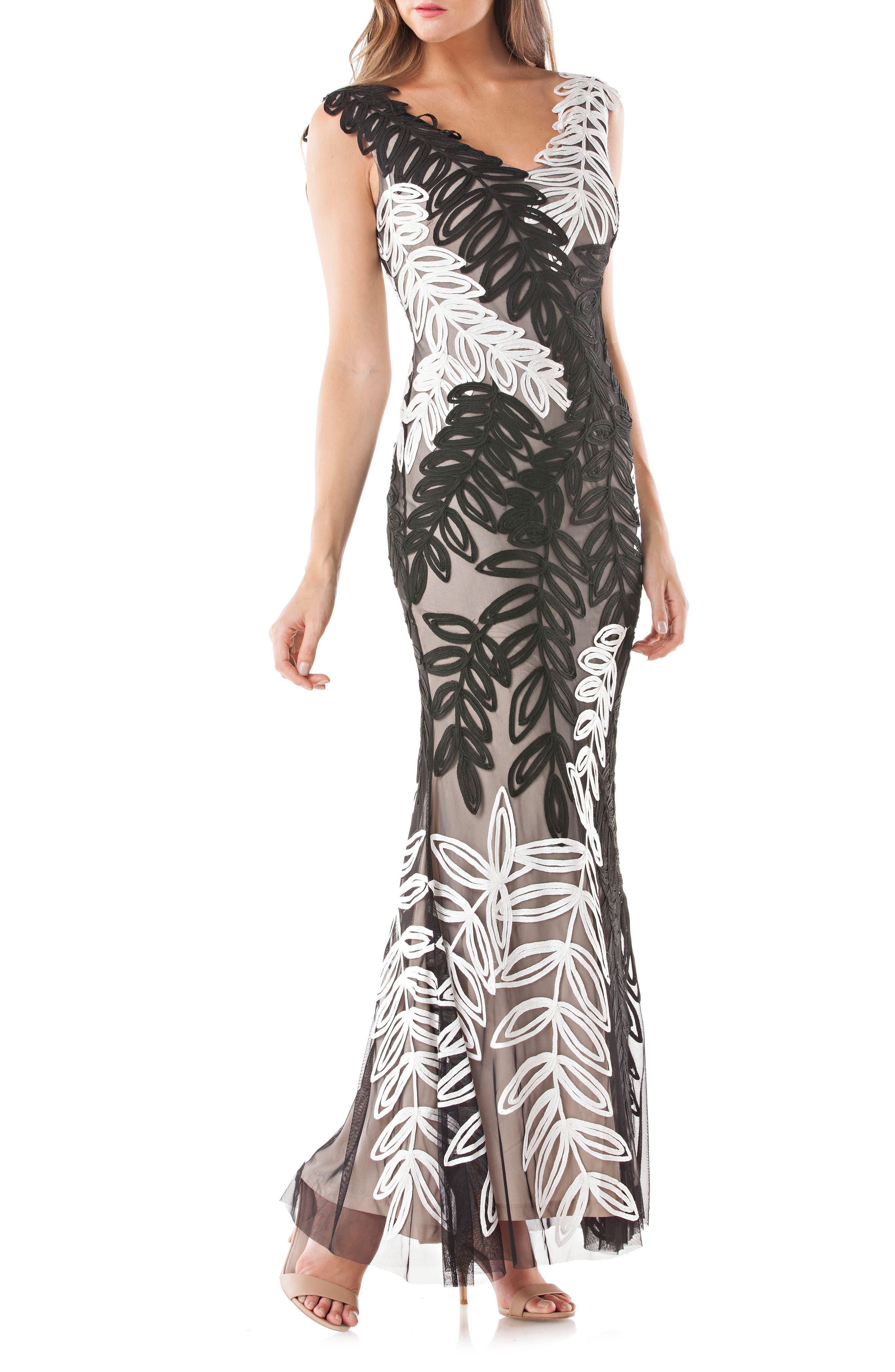 Leaf Soutache Trumpet Gown,                             Main thumbnail 1, color,                             Black/ White