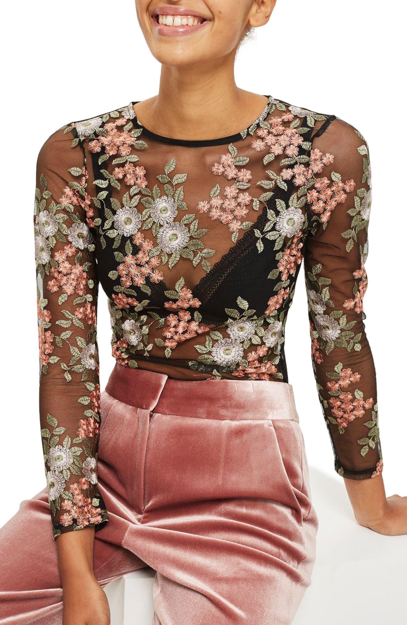 Topshop Sheer Floral Bodysuit