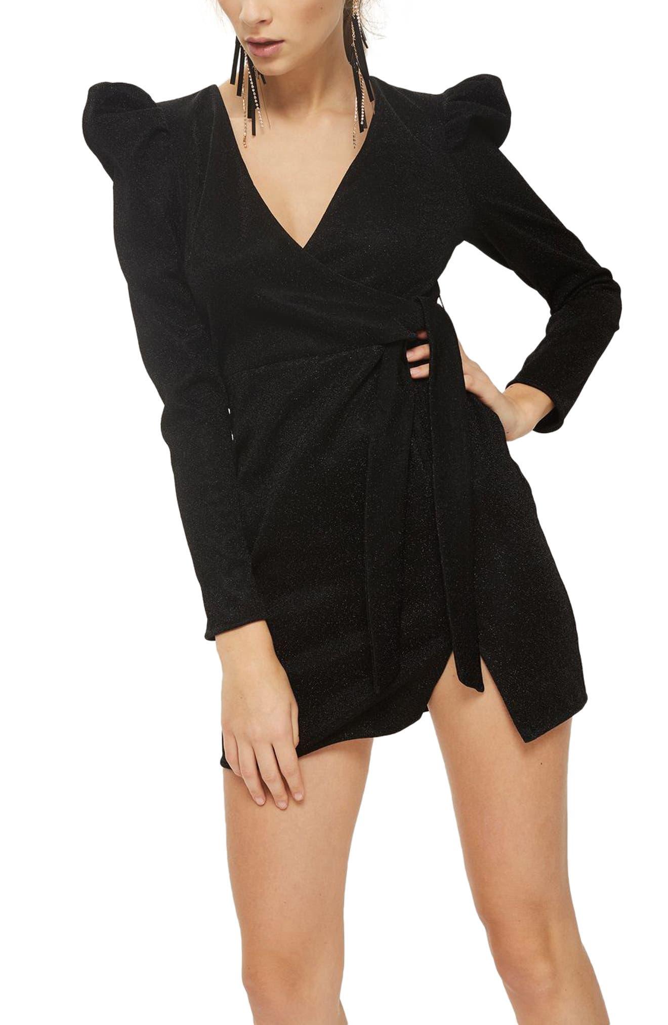 Tinsel Puff Shoulder Wrap Dress,                             Alternate thumbnail 3, color,                             Black