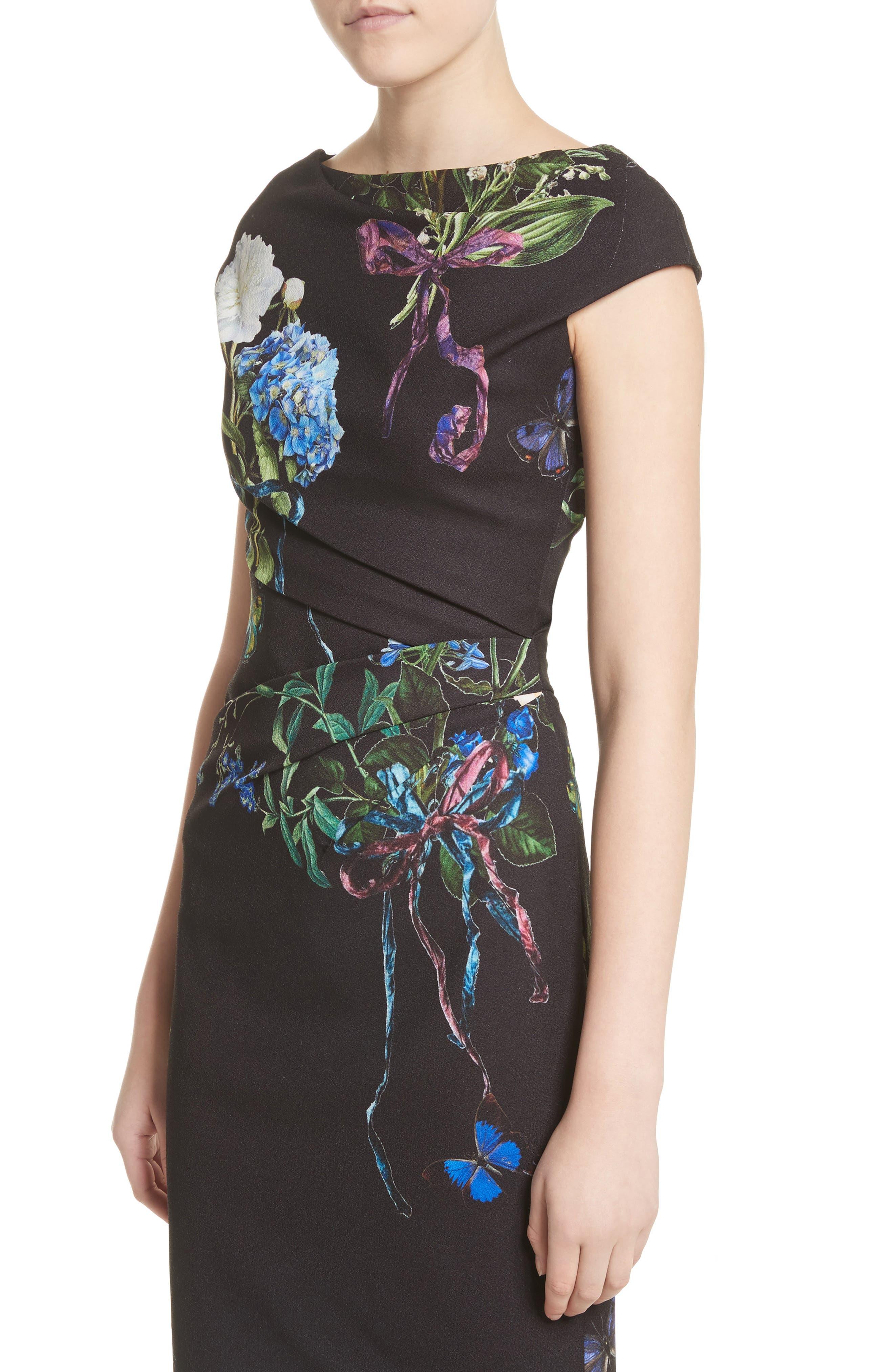 Alternate Image 4  - Monique Lhuillier Botanical Print Draped Sheath Dress