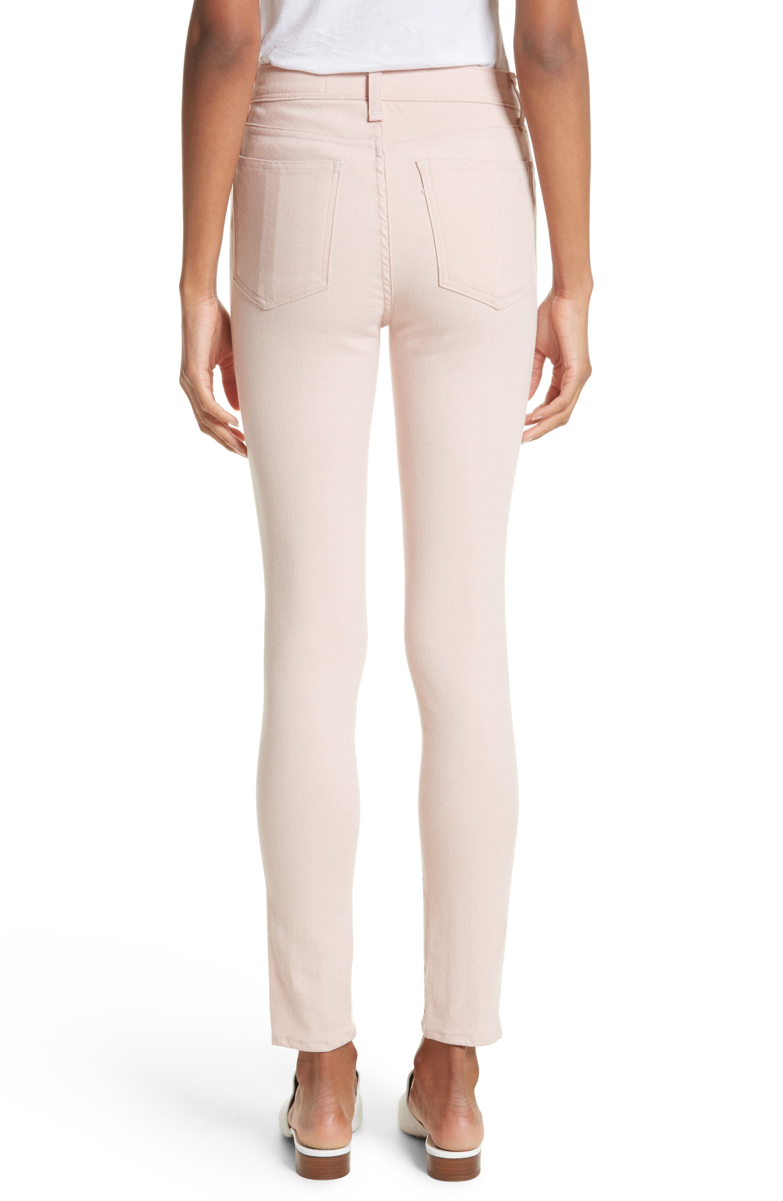 Alternate Image 2  - rag & bone/JEAN High Waist Ankle Skinny Jeans (Blush Twill)